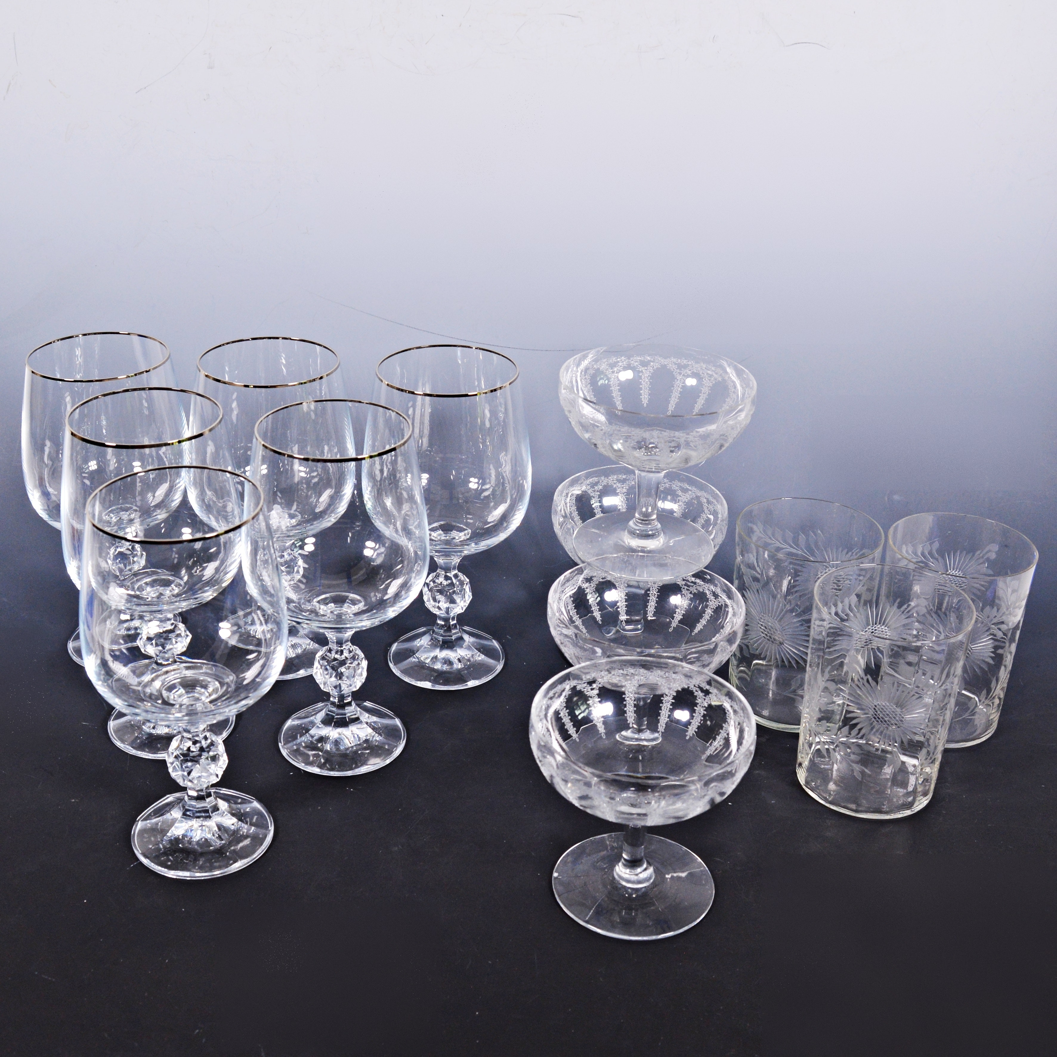 Vintage Etched Glassware with Crystal Stemware