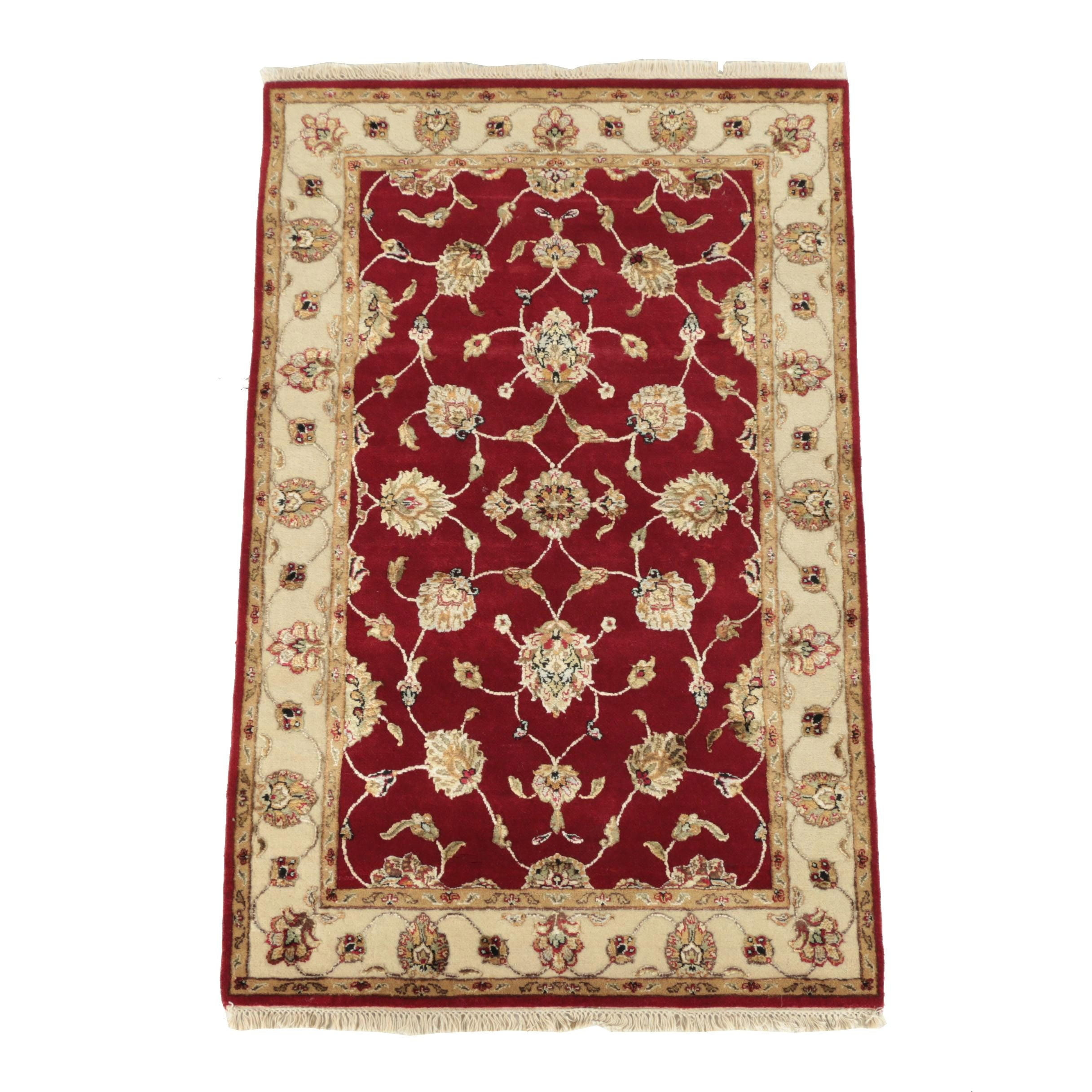 Hand-Knotted and Carved Indo-Persian Tabriz Wool and Silk Rug