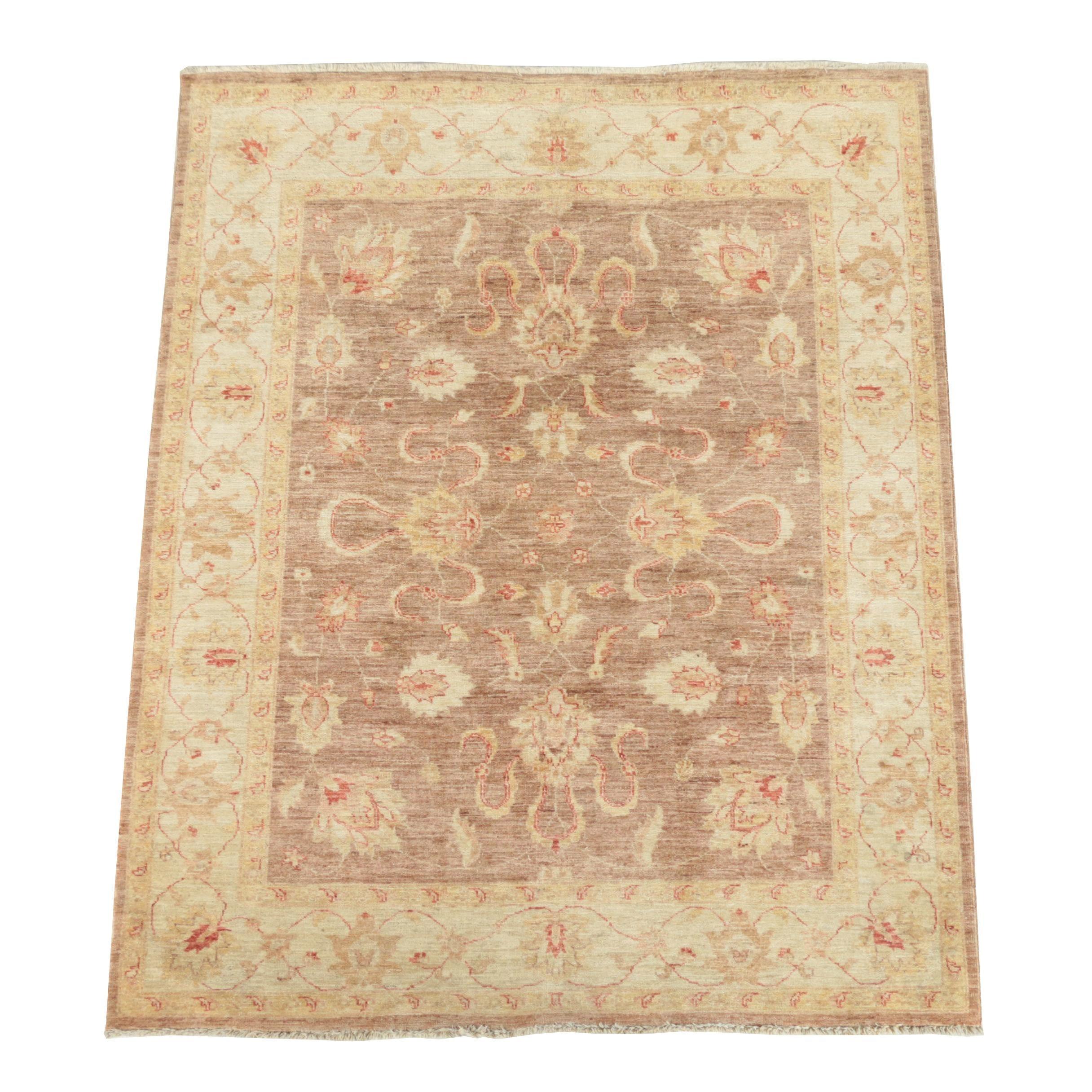 Hand-Knotted Indo-Oushak Chobi Wool Rug