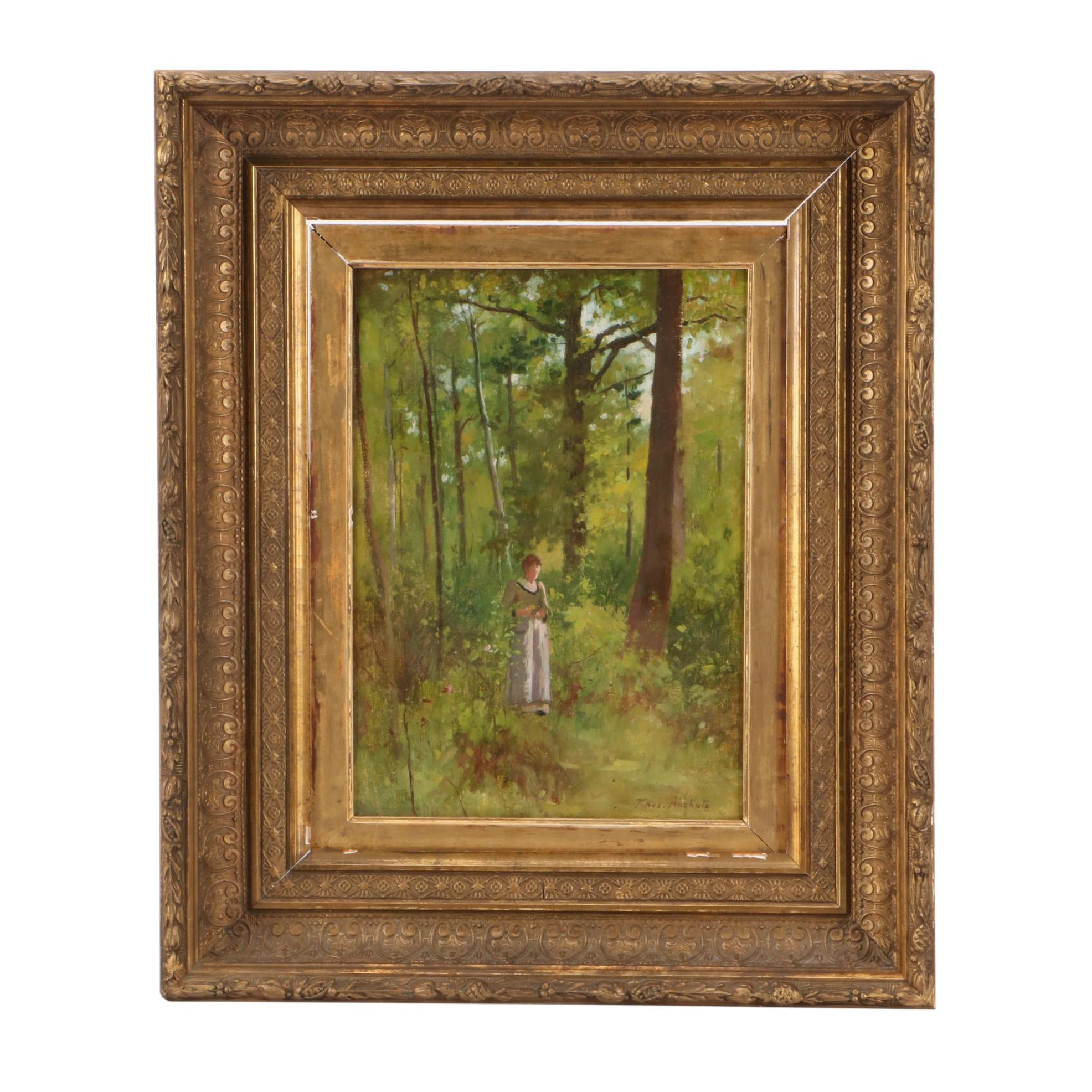 Thomas Pollack Anshutz Oil Painting of Figure in Wooded Landscape