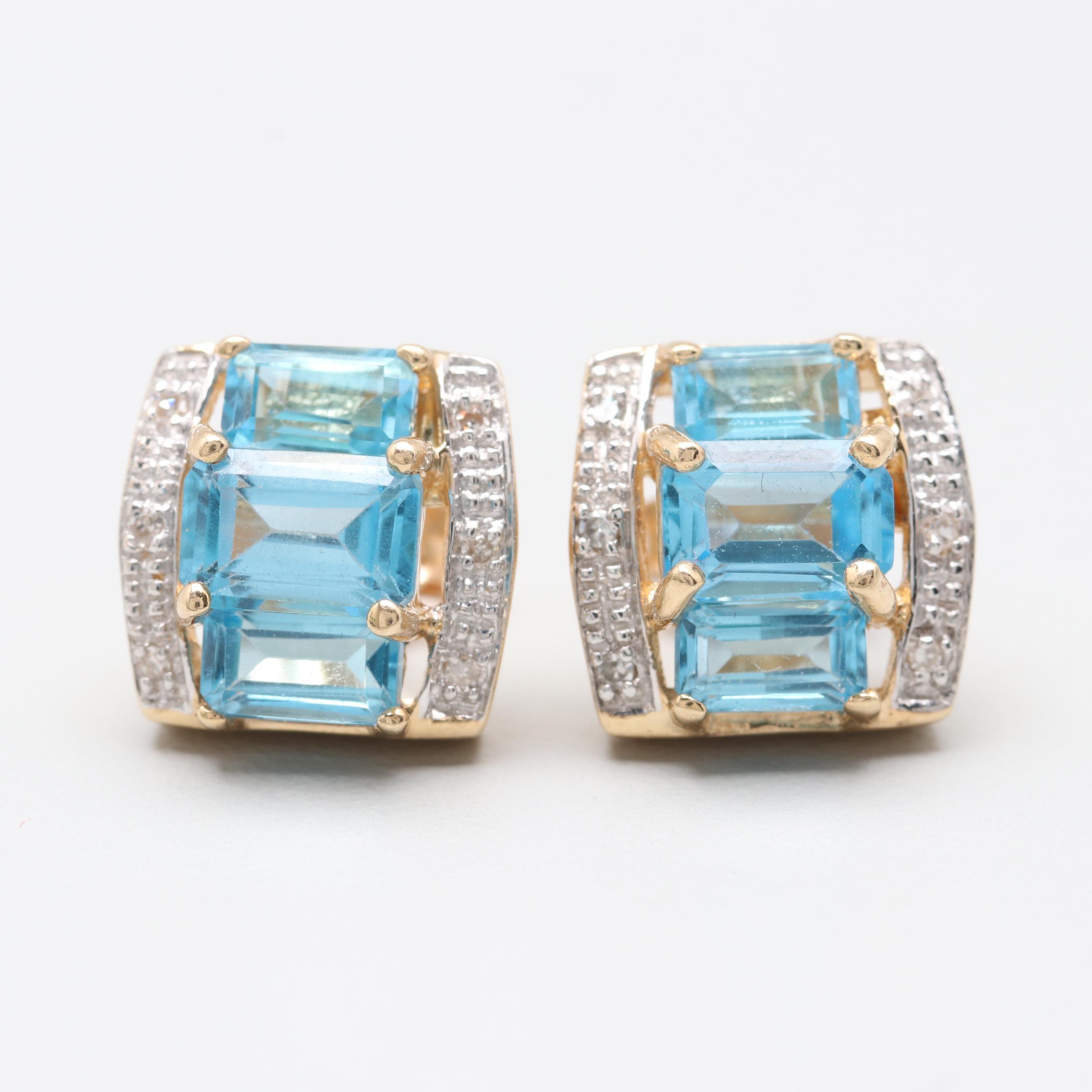 14K Yellow Gold Blue Topaz and Diamond Earrings