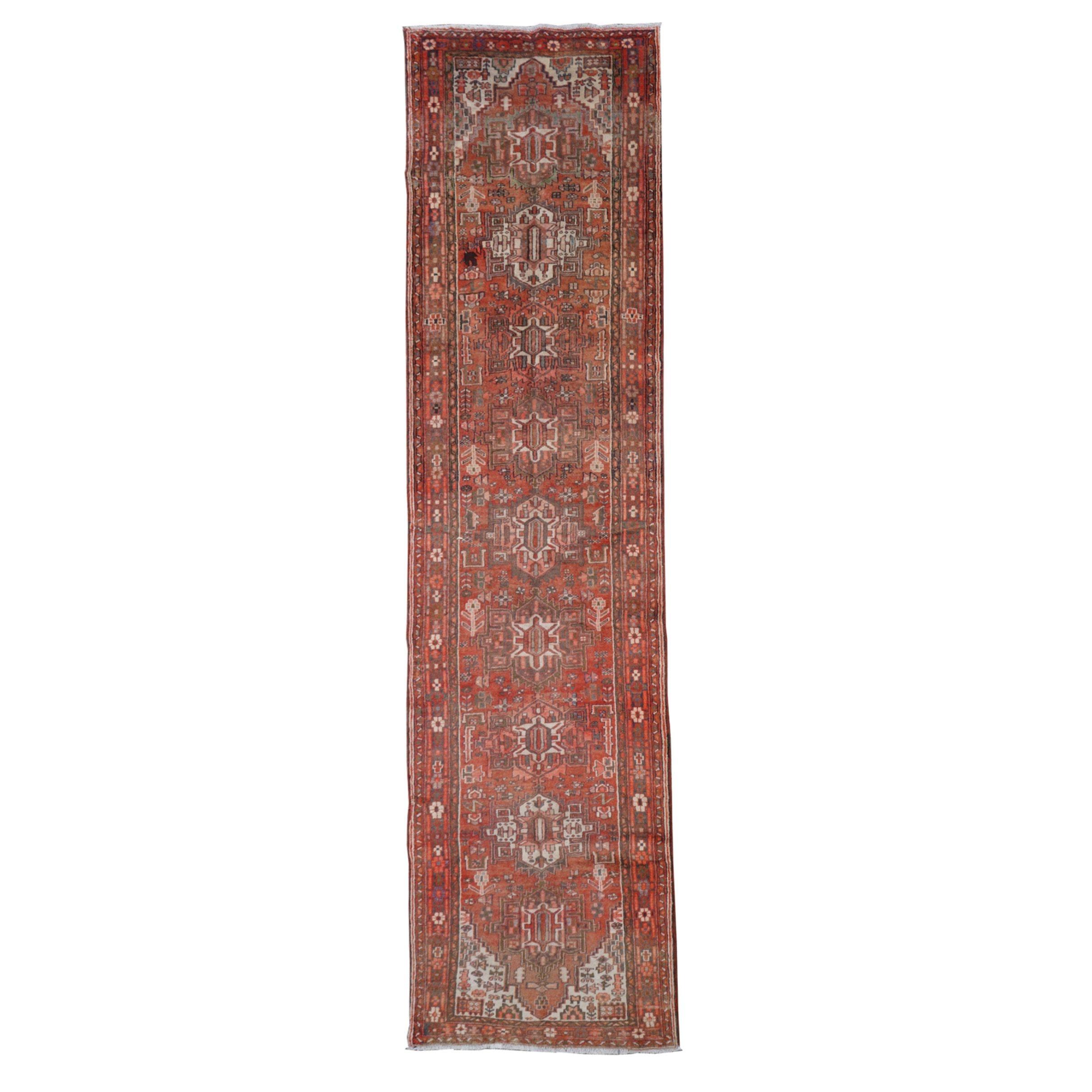Hand-Knotted Persian Karaja Wool Carpet Runner
