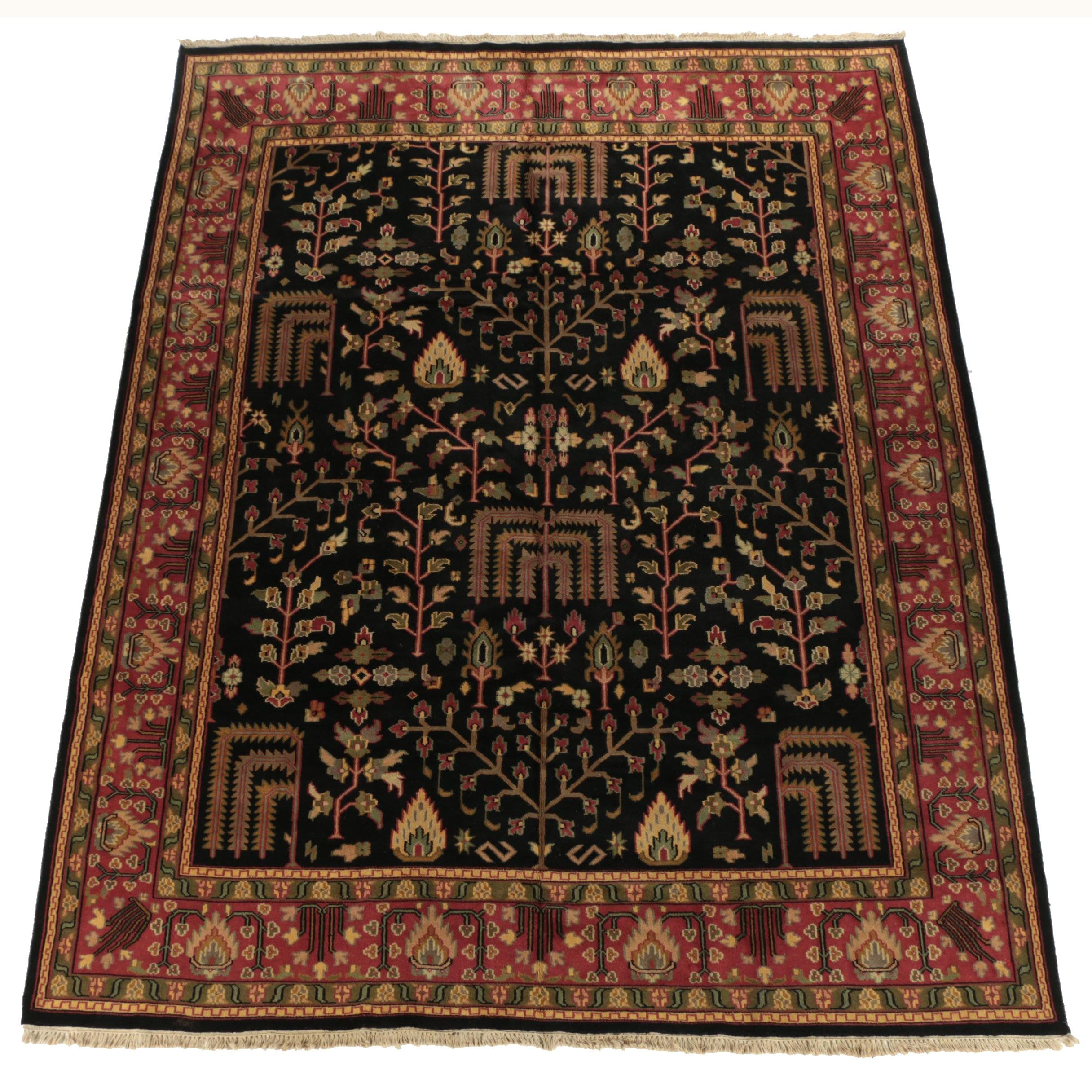 Hand-Knotted Indo-Persian Zenjan Wool Room Sized Rug