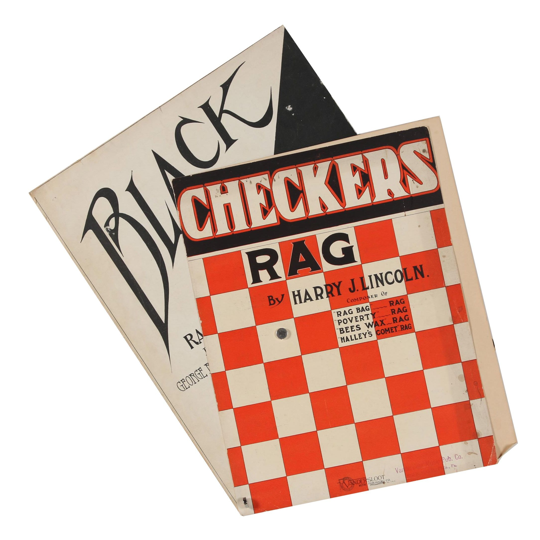 "1913 ""Checkers Rag"" and 1908 ""Black and White Rag"" Sheet Music"