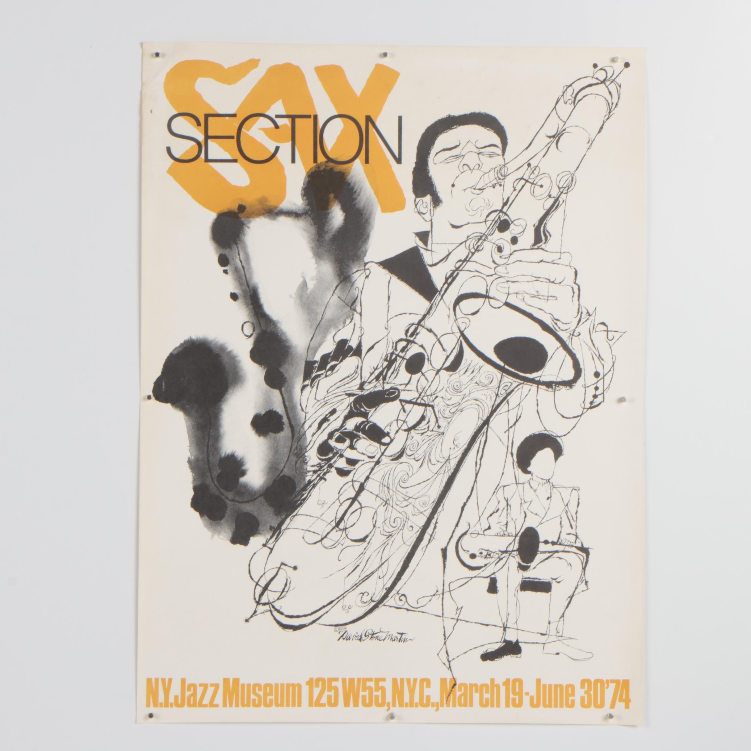 "Lithograph Poster after David Stone Martin ""Sax Section"""