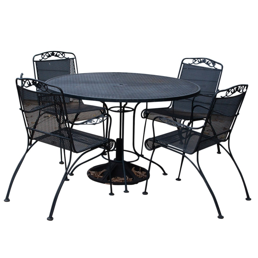 Black Metal Mesh Outdoor Patio Table And Chairs