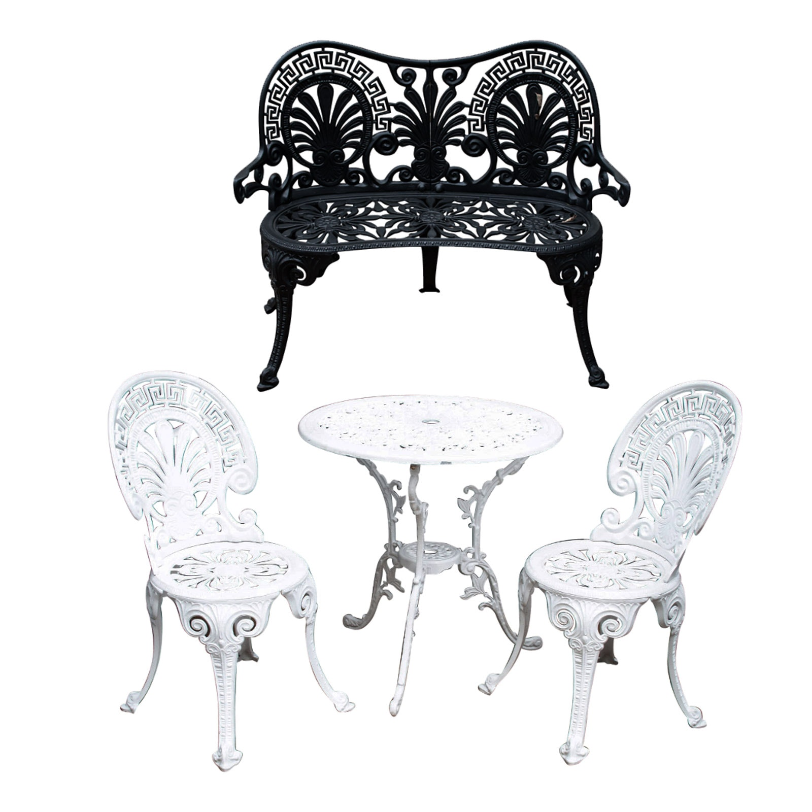 four piece cast metal outdoor furniture grouping ebth rh ebth com Cast Iron Outdoor Furniture Modern Outdoor Furniture