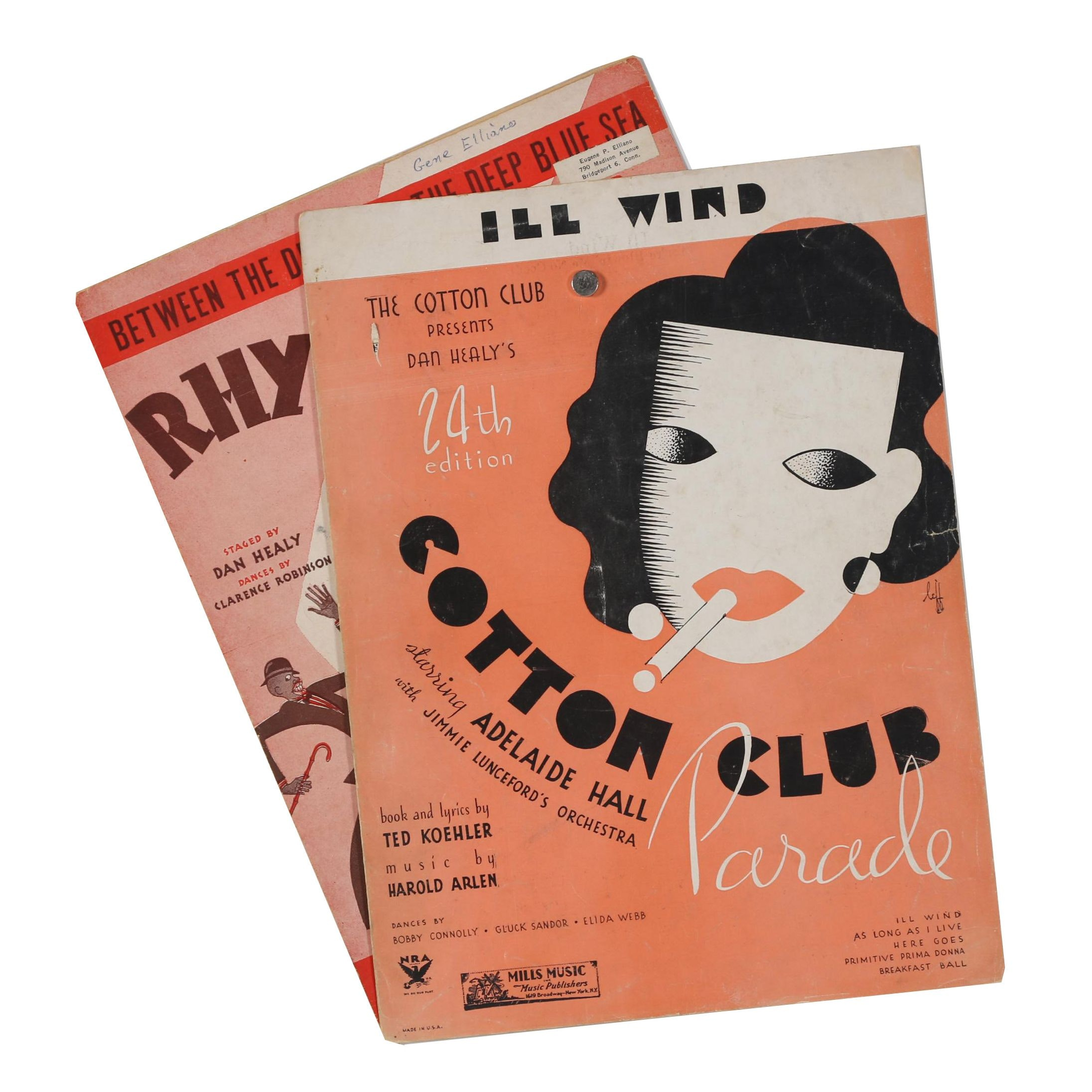 "1931 ""Between the Devil and the Deep Blue Sea"" and 1934 ""Ill Wind"" Sheet Music"