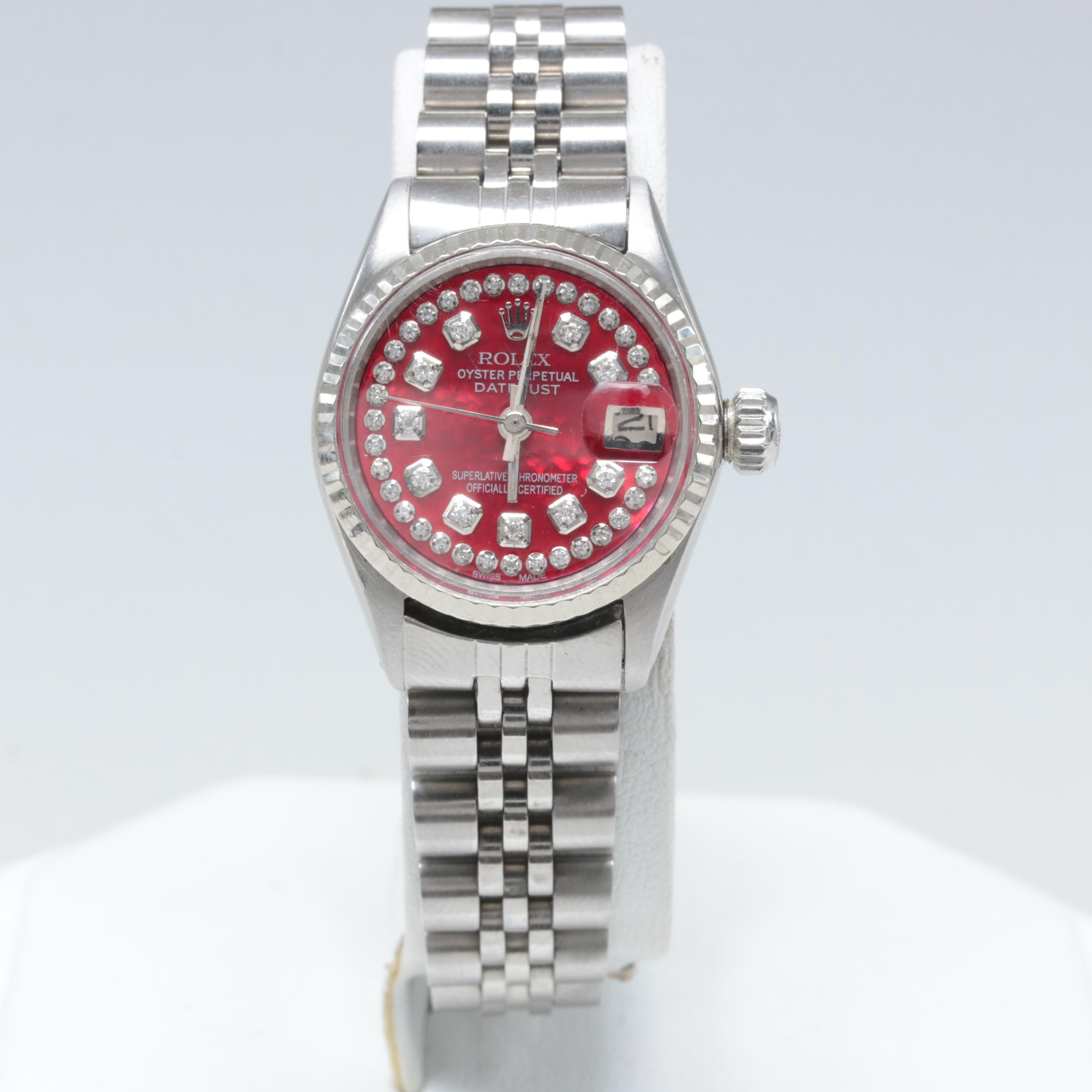 Rolex Stainless Steel and 14K White Gold Diamond Wristwatch