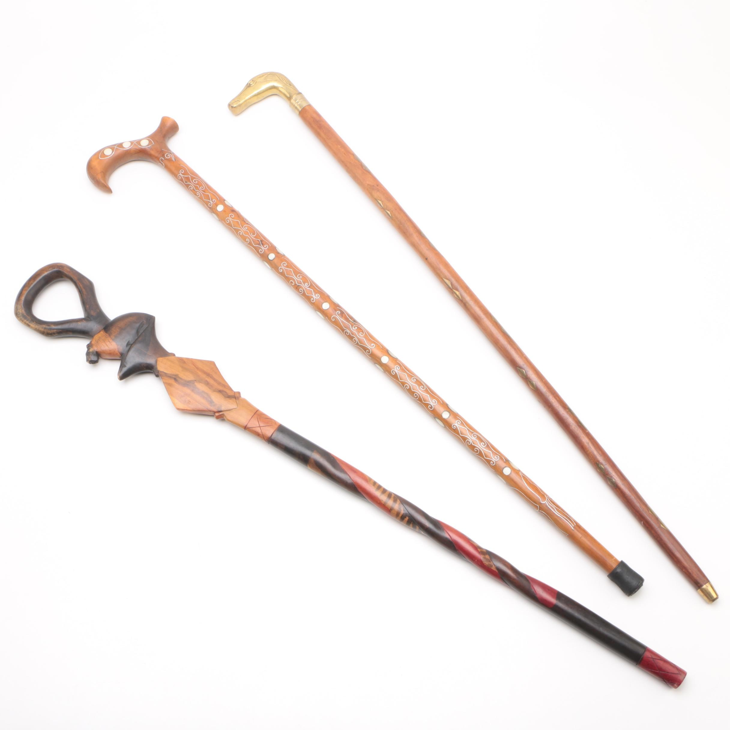 Carved Walking Sticks with Shell and Brass Inlay, including Horse Head Handle