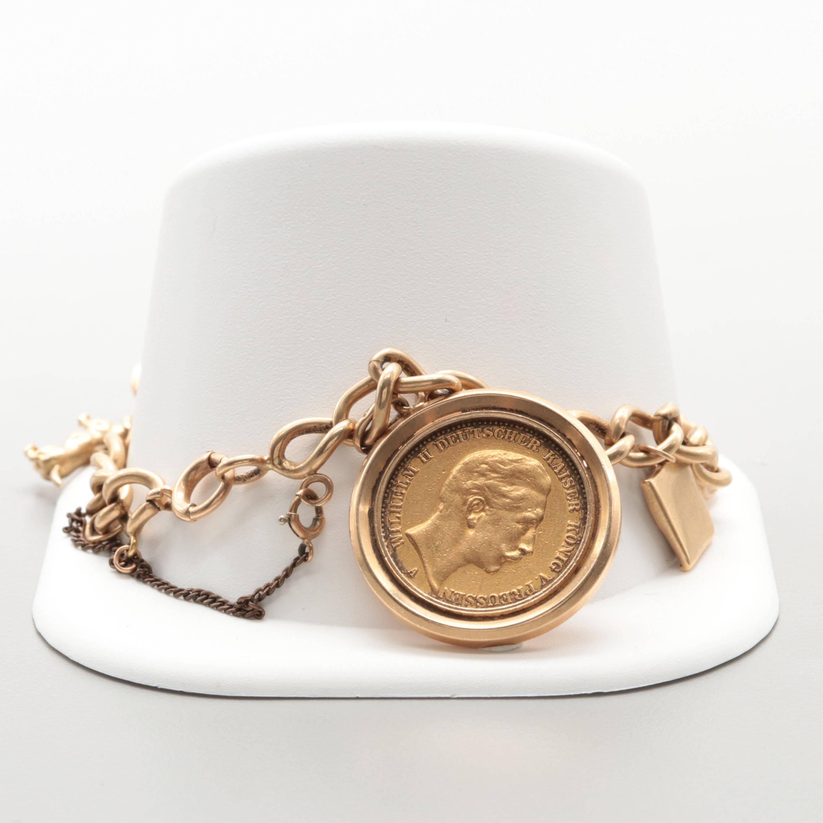 14K Yellow Gold Charm Bracelet with 1896 Prussia 20 Mark Gold Coin