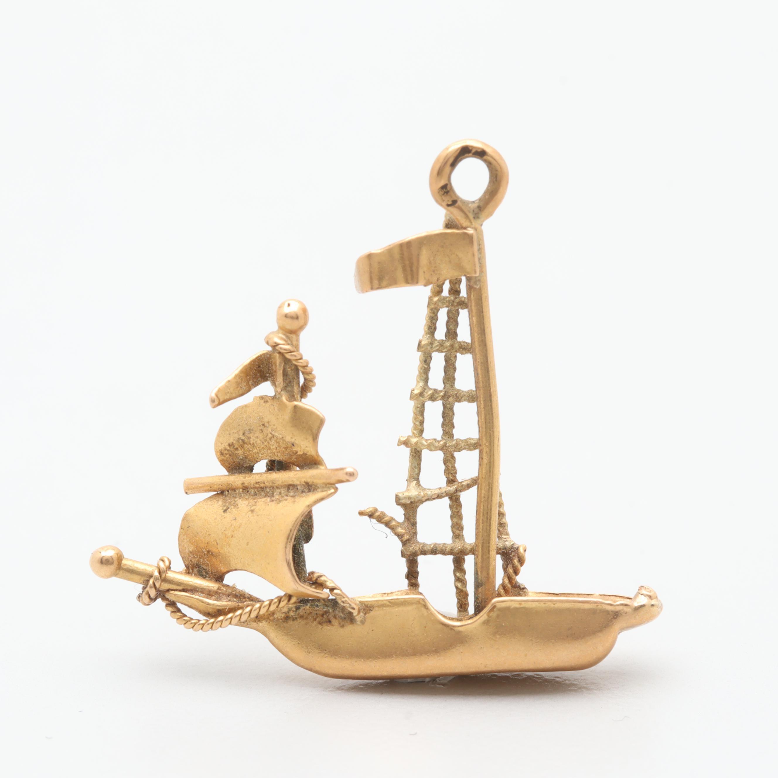 18K Yellow Gold Ship Pendant