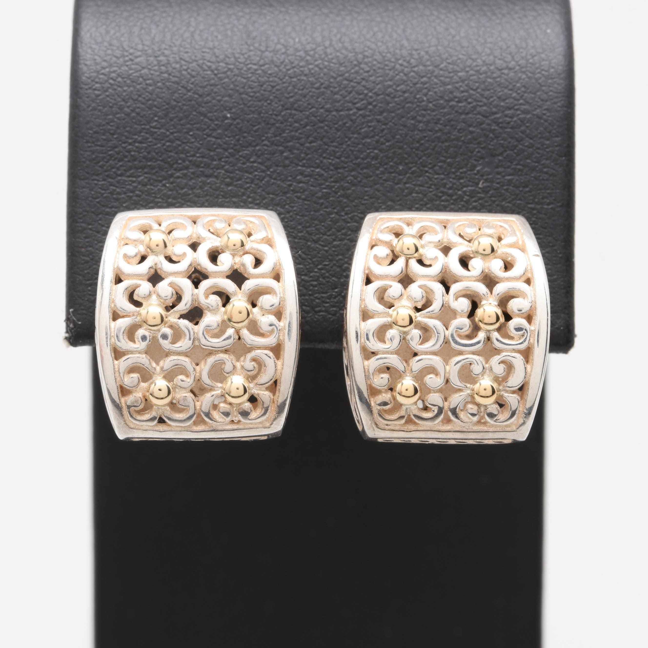 Samuel Benham Sterling Silver Earring with 18K Yellow Gold
