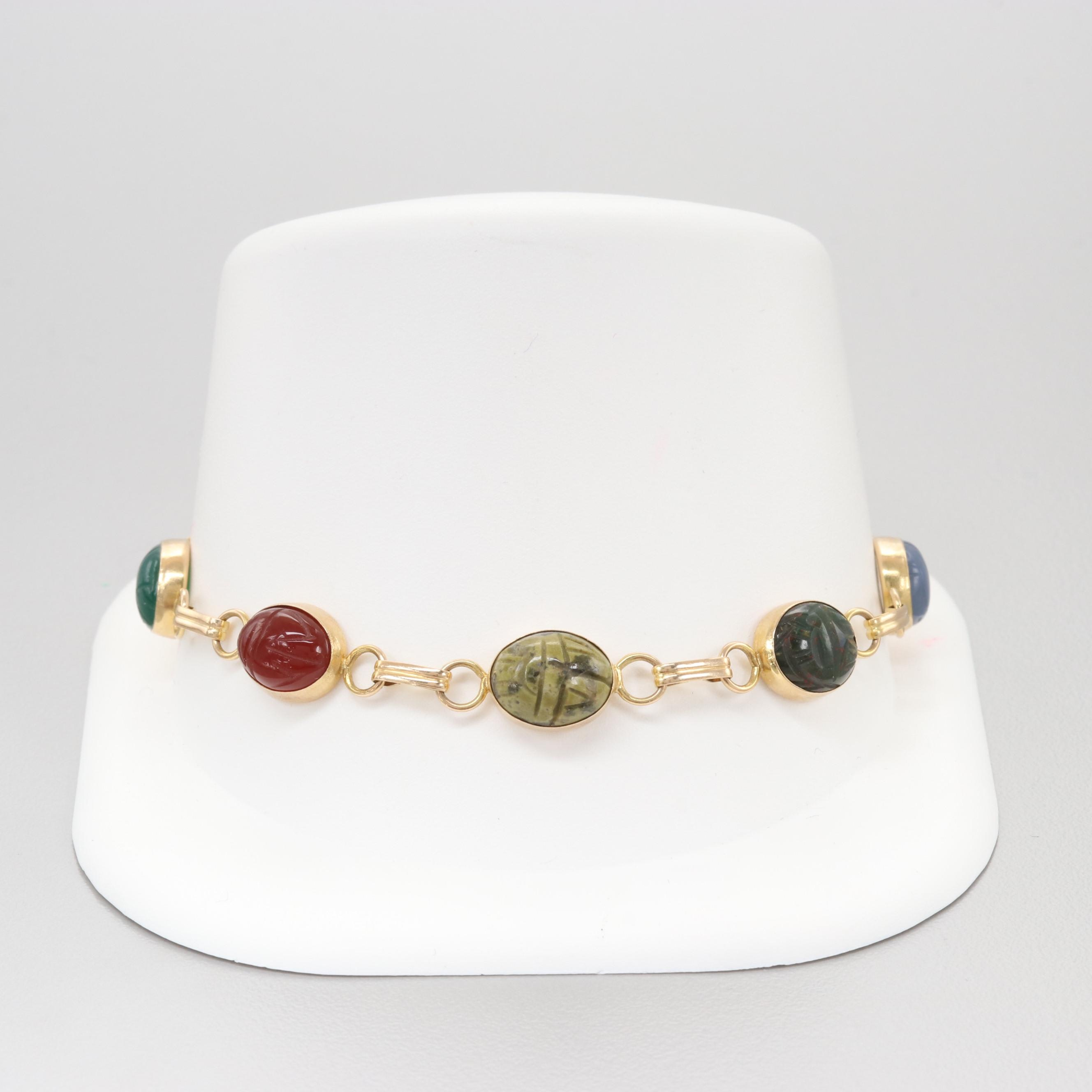 Vintage 14K Yellow Gold Scarab Bracelet with Quartz, Bloodstone, and Onyx
