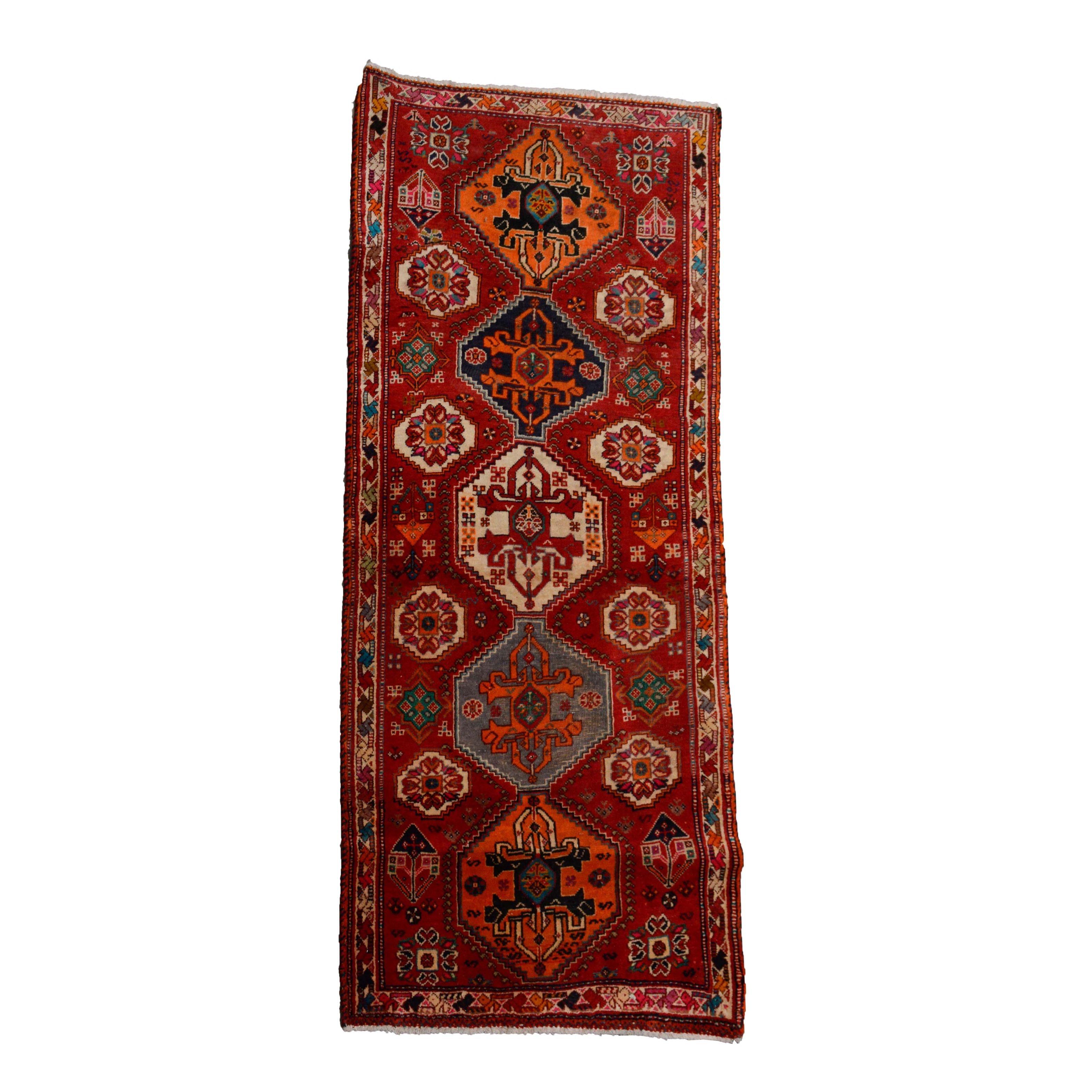 Hand-Knotted Qashqai Wool Carpet Runner