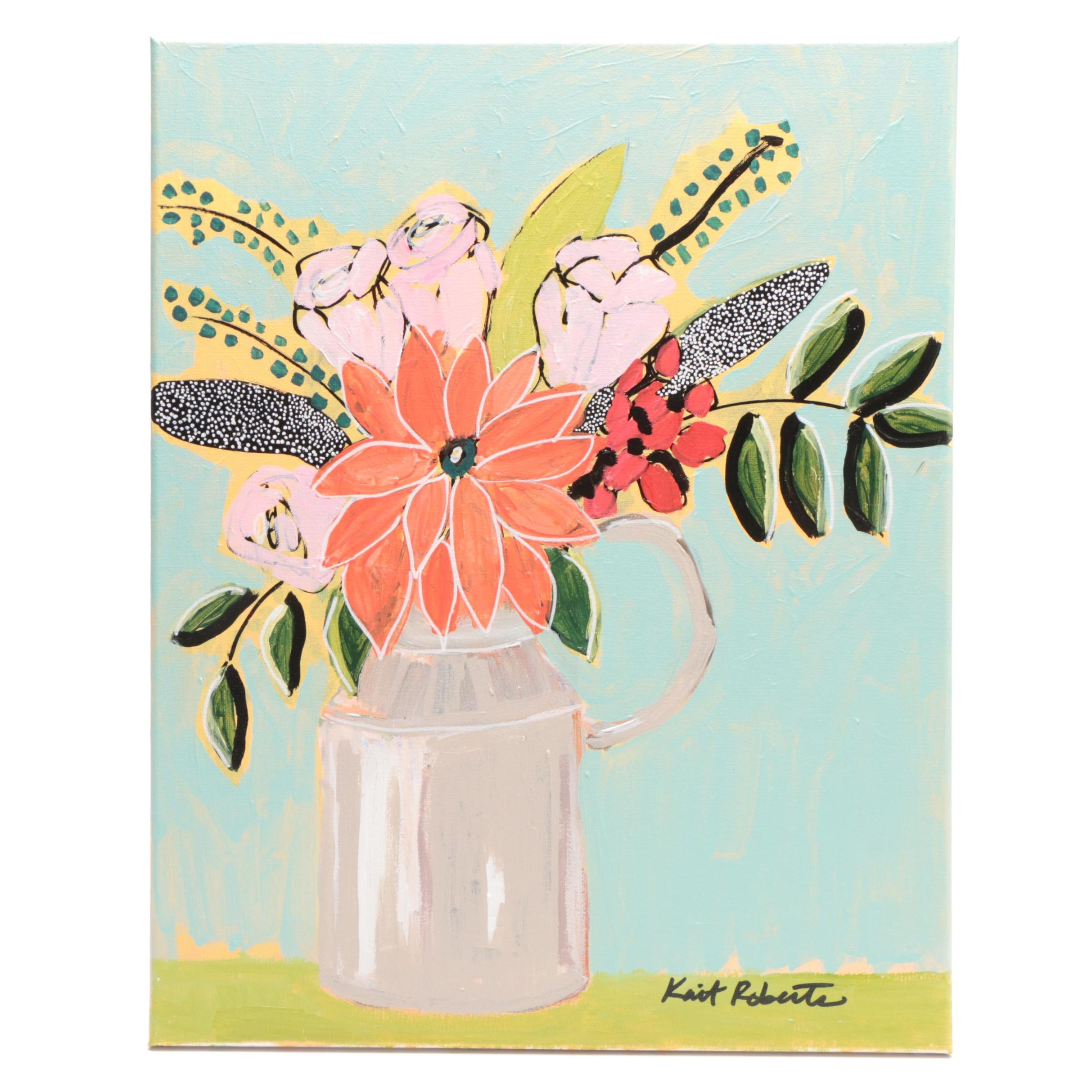 "Kait Roberts Acrylic Painting ""Bouquet on Robin's Egg"""