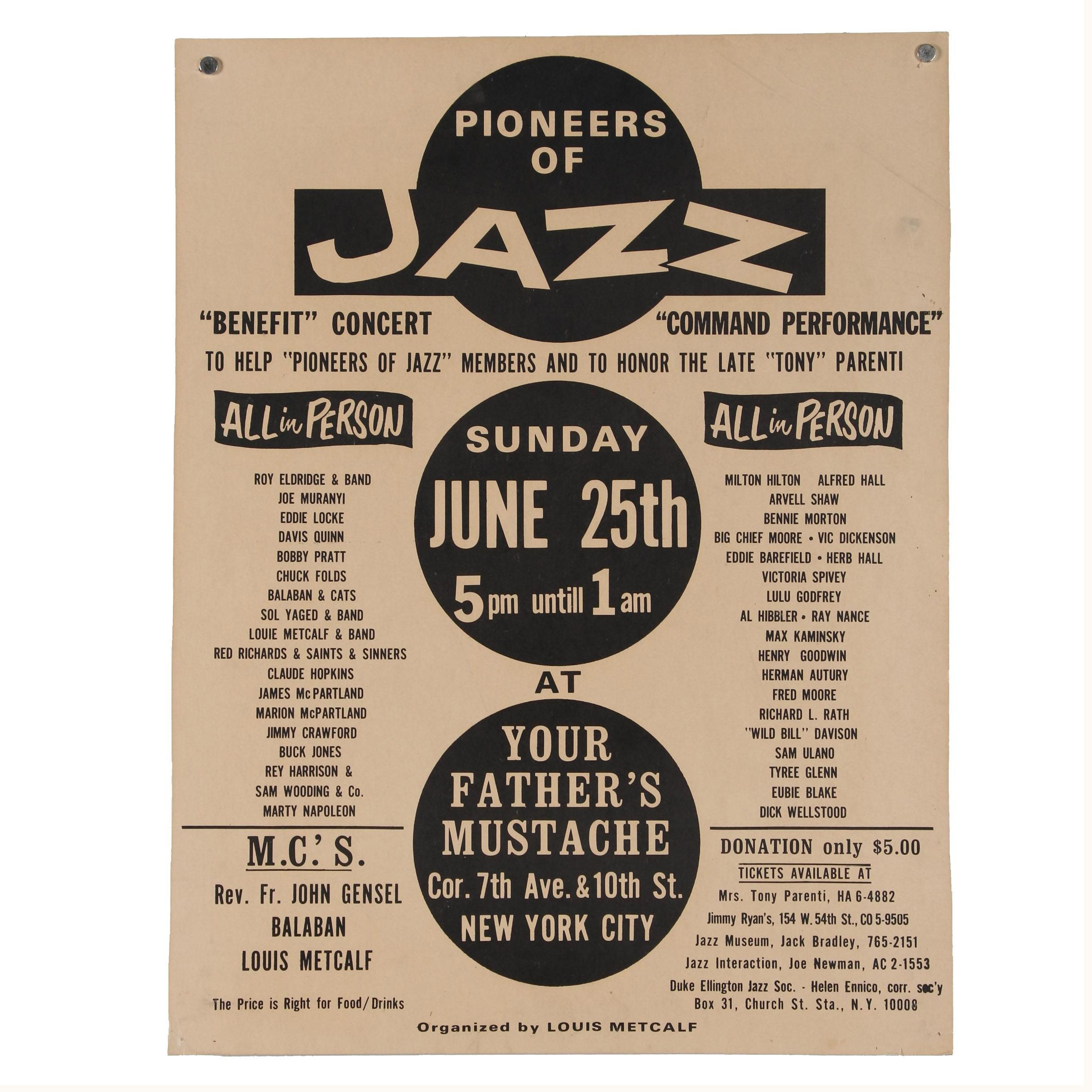 """Pioneers of Jazz"" Benefit Concert Poster"