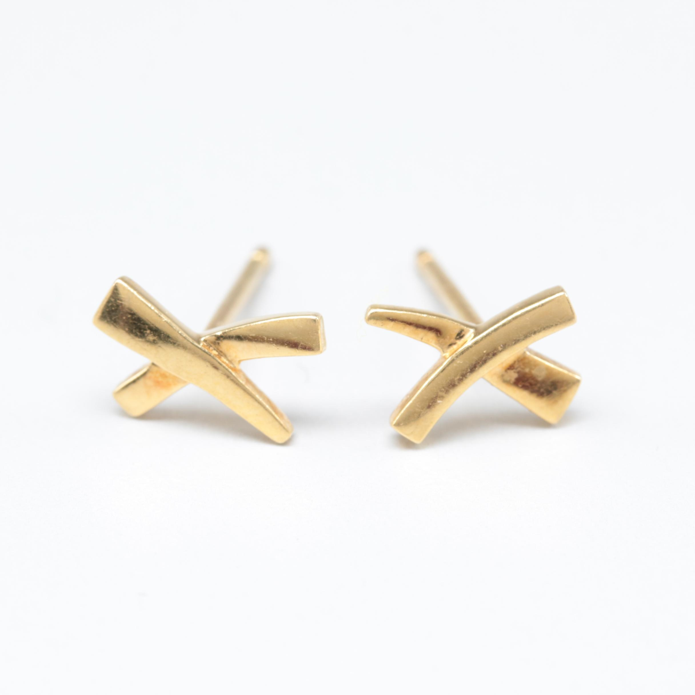 Paloma Picasso for Tiffany & Co. Graffiti X Collection 18K Yellow Gold Earrings