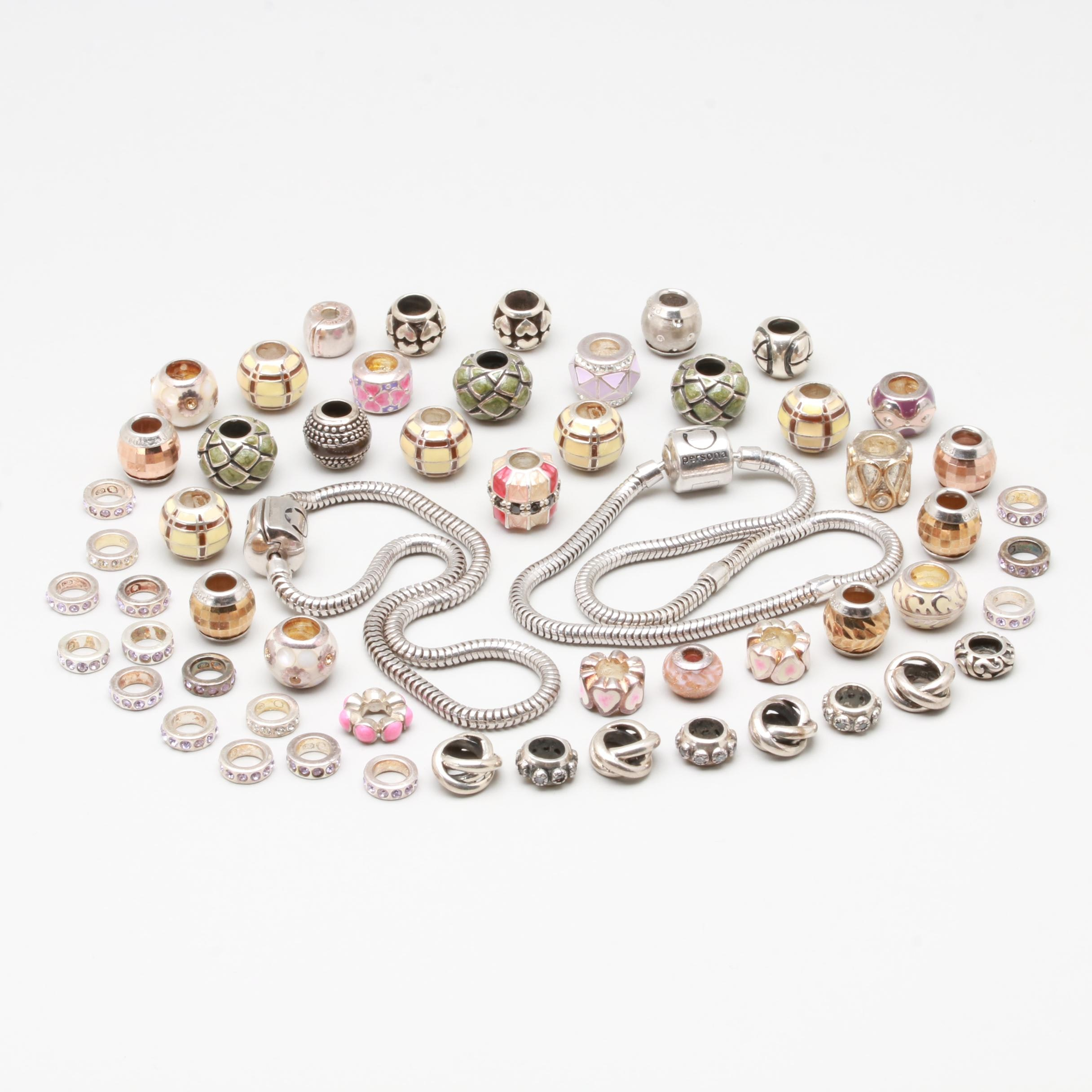 Persona Sterling Silver Beads with Bracelets Selections with Glass and Resin