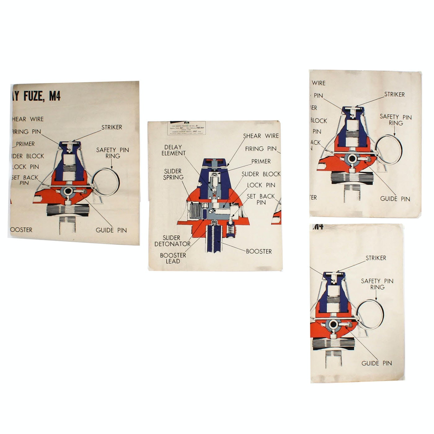 1944 Grenade Training Aid Posters from U.S. Chemical Warfare Service