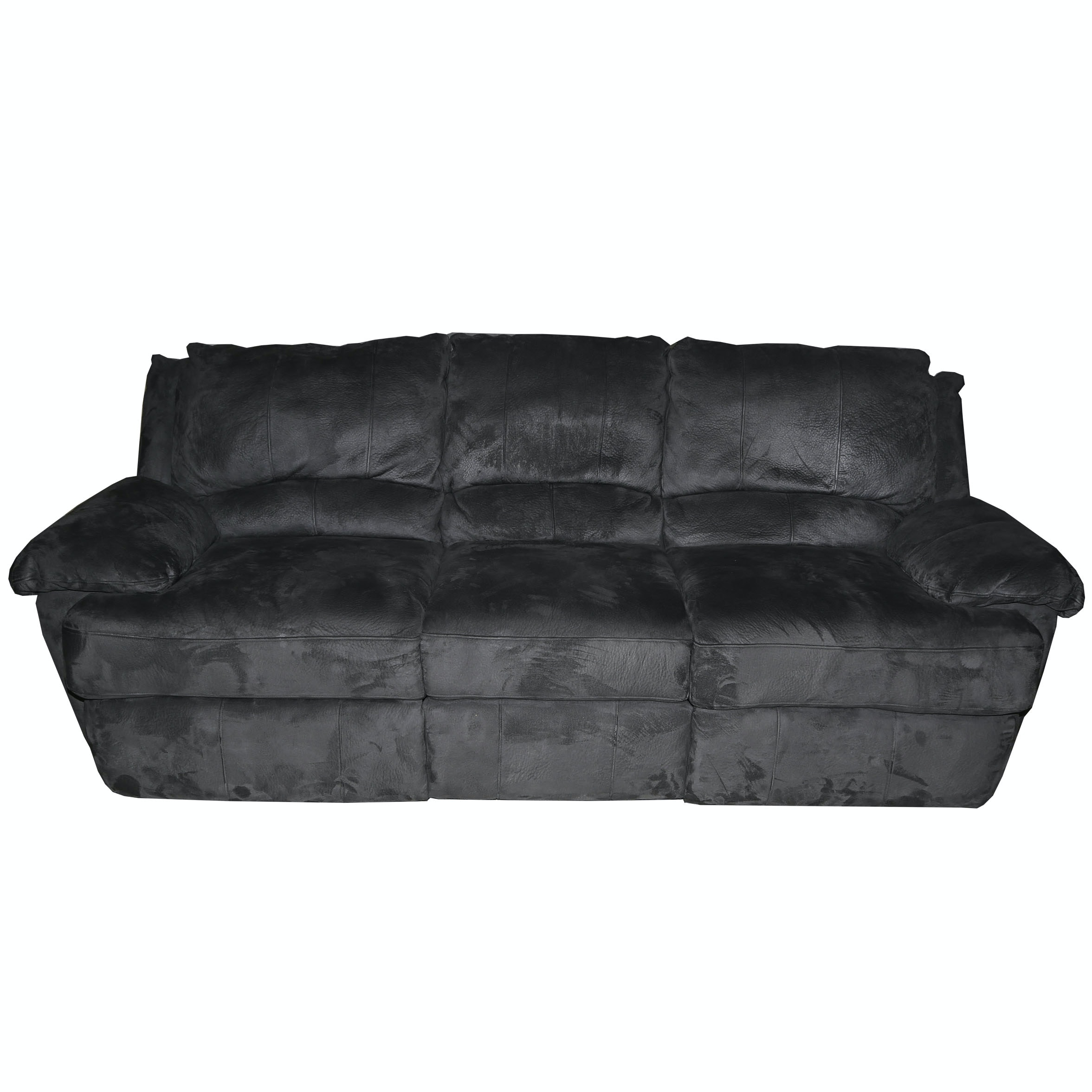 Contemporary Gray Microsuede Upholstered Reclining Sofa