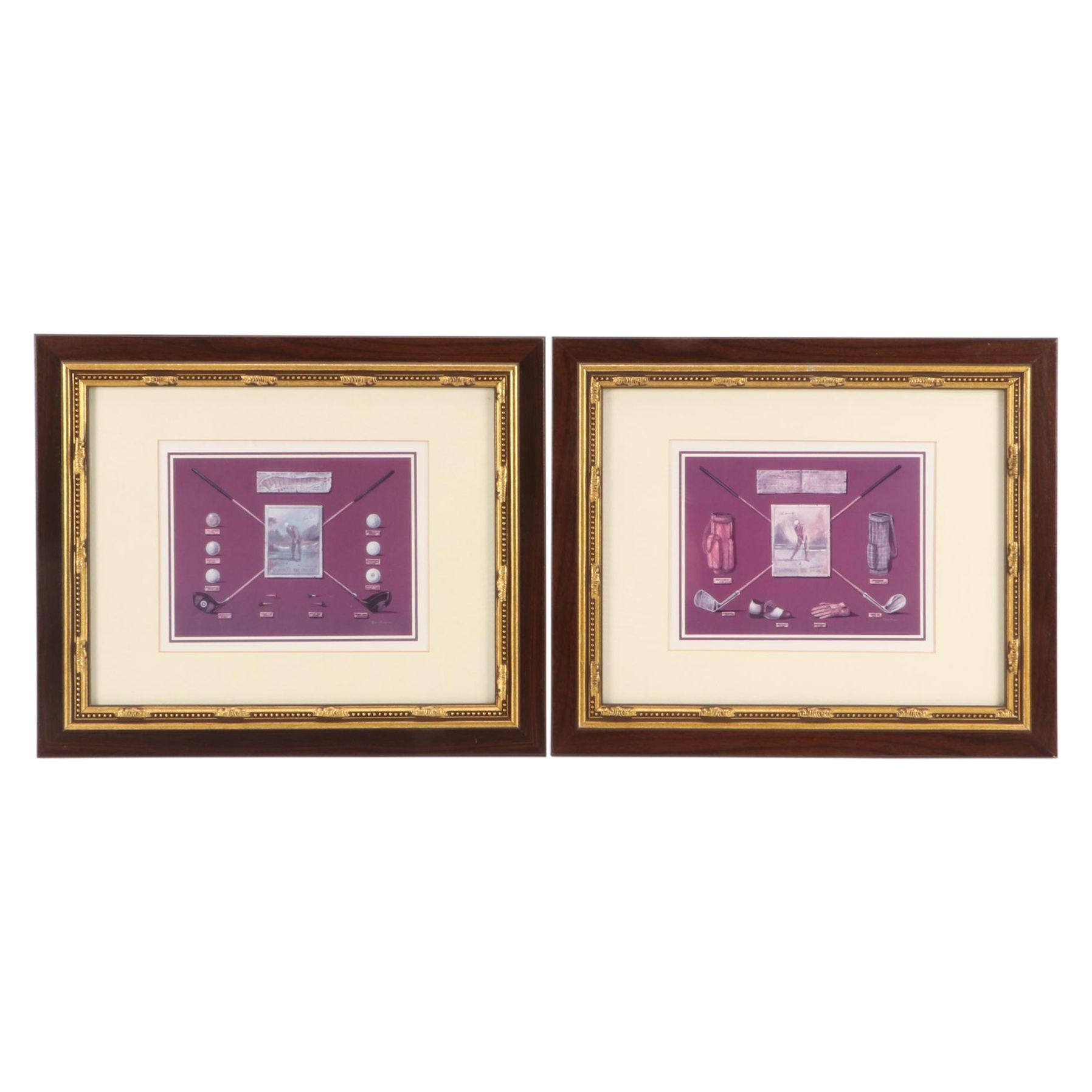 Two Golf Themed Offset Lithographs after Ruane Manning