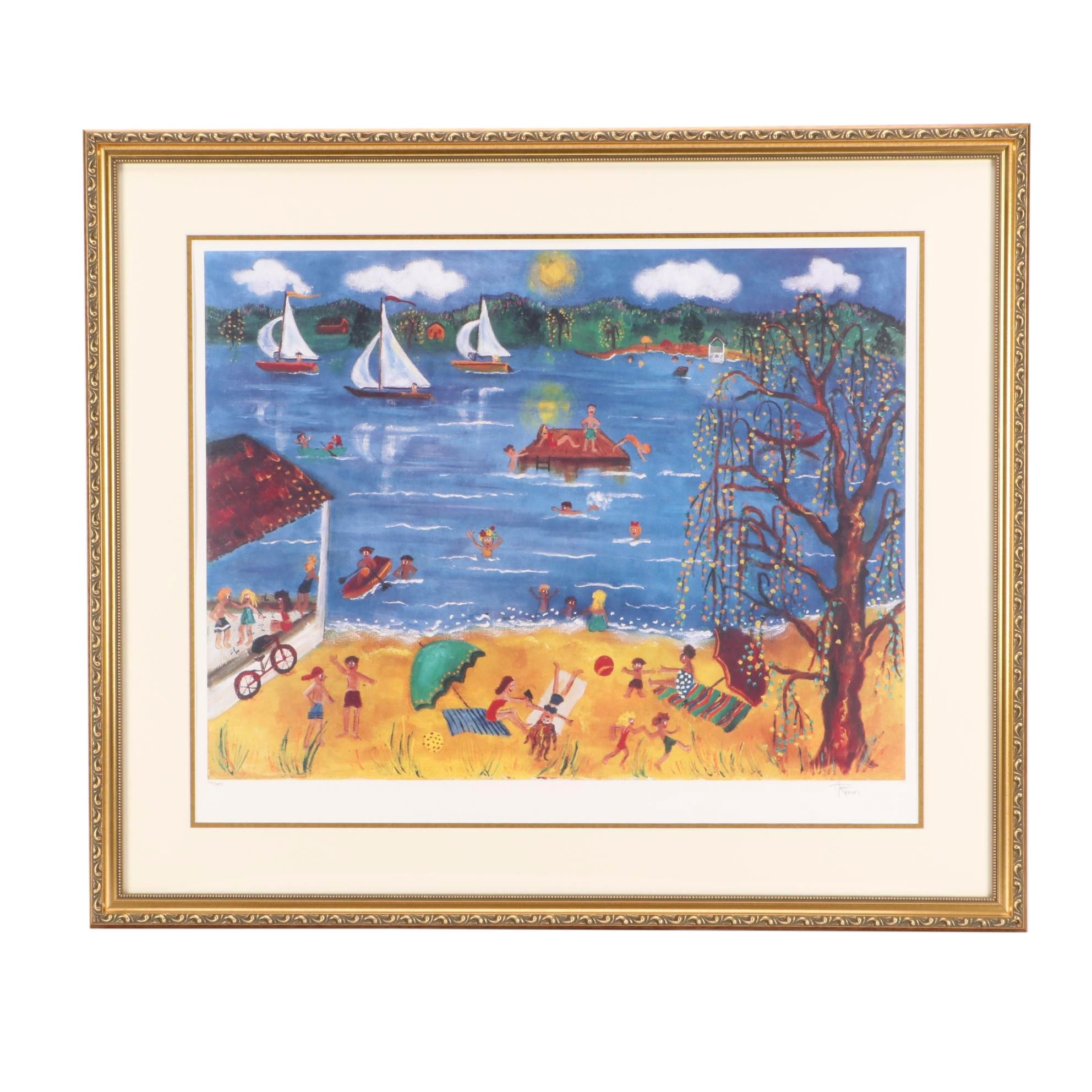 Ann Reeves Limited Edition Offset Lithograph after Naive Painting of Beach Scene
