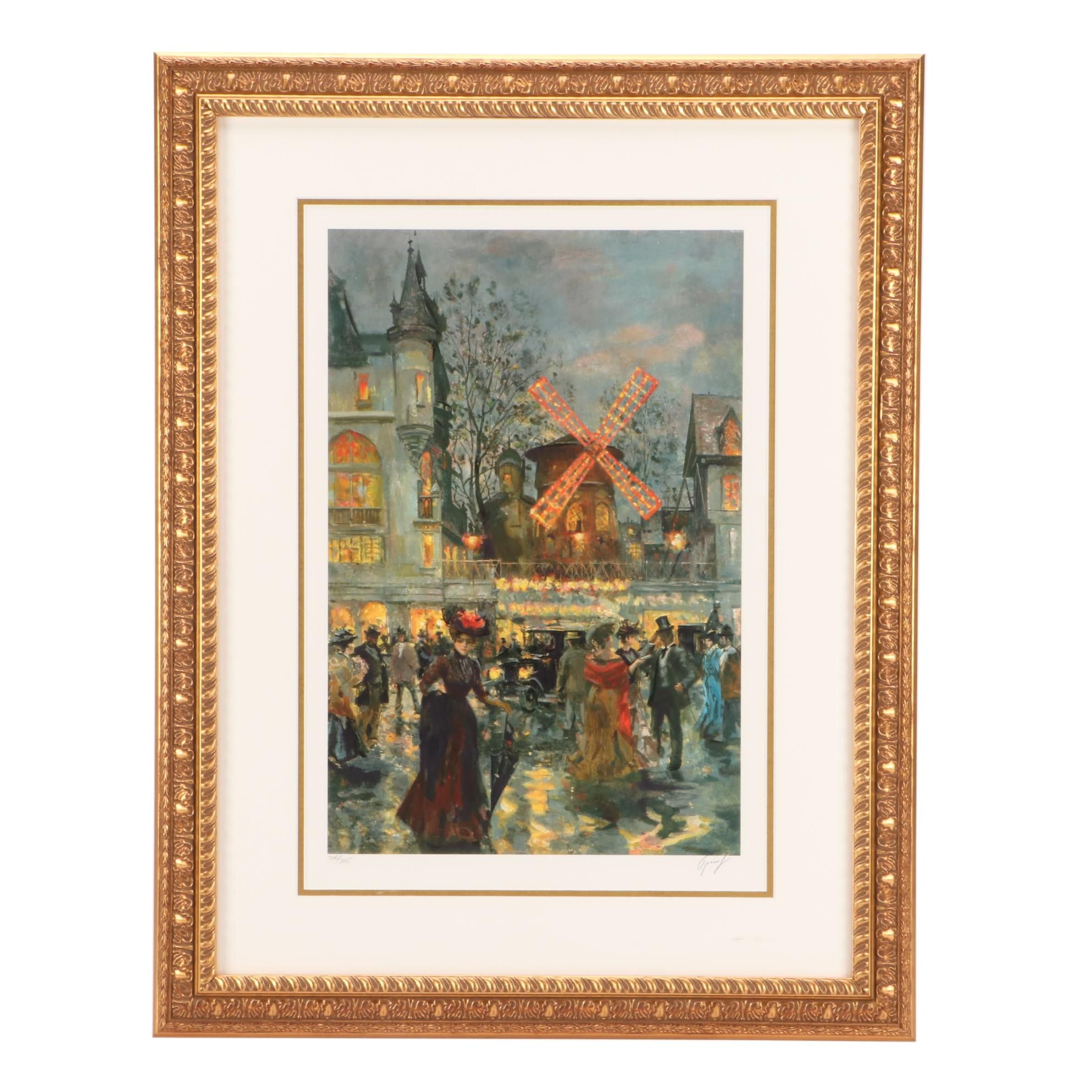 Limited Edition Offset Lithograph of Festive Street Scene