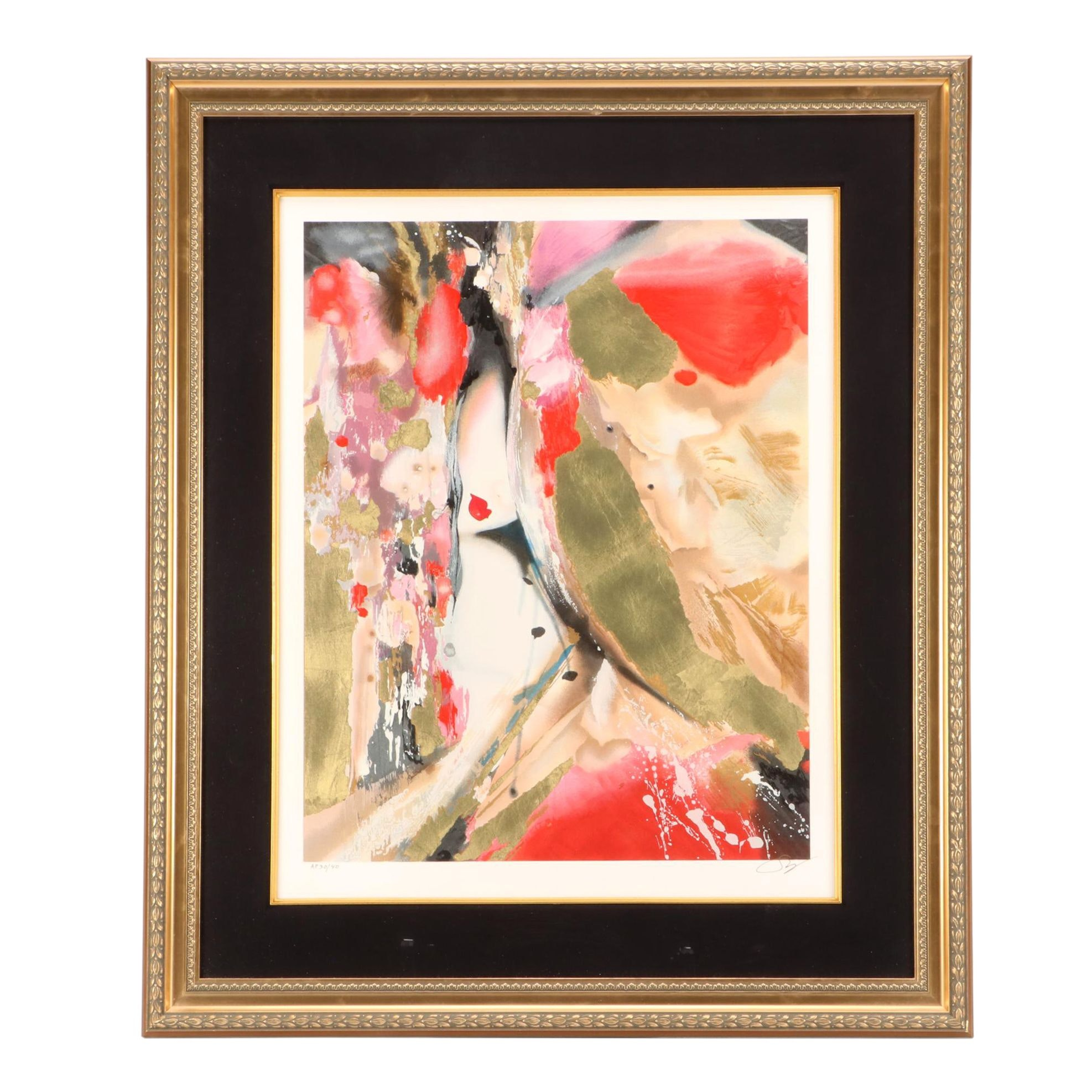 Suzanne Marie Limited Edition Abstract Serigraph with Figure