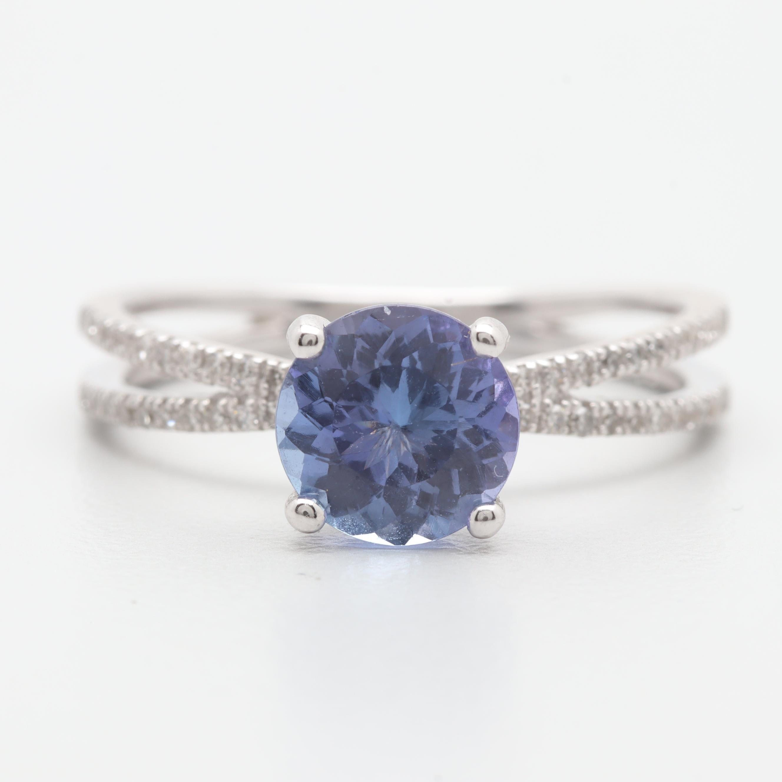 Alwand Vahan 14K White Gold Tanzanite and Diamond Ring
