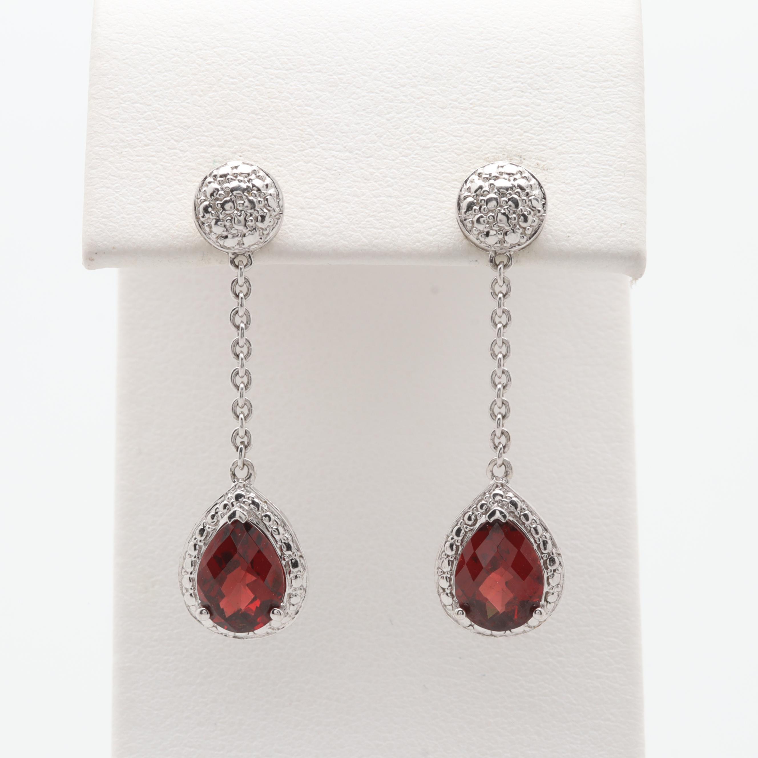 14K White Gold Garnet Dangle Earrings