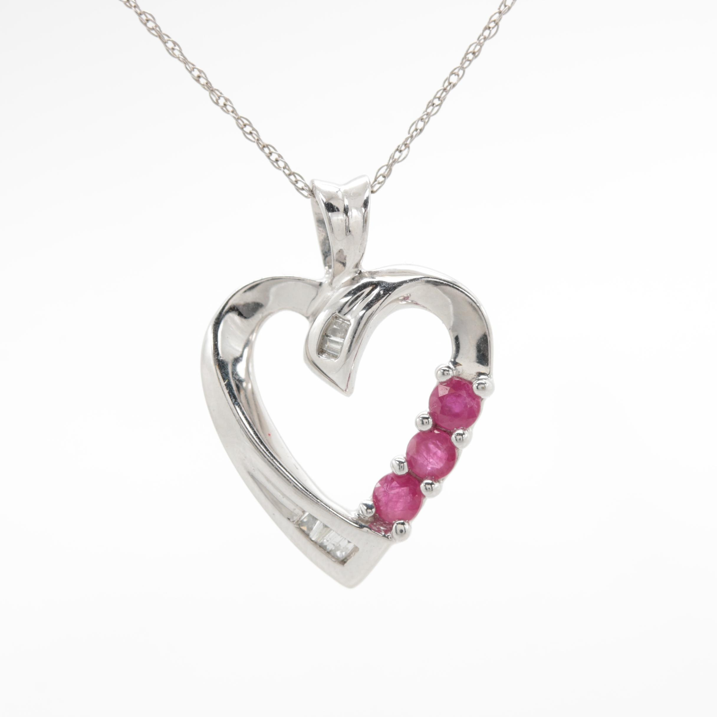 10K White Gold Diamond and Ruby Necklace