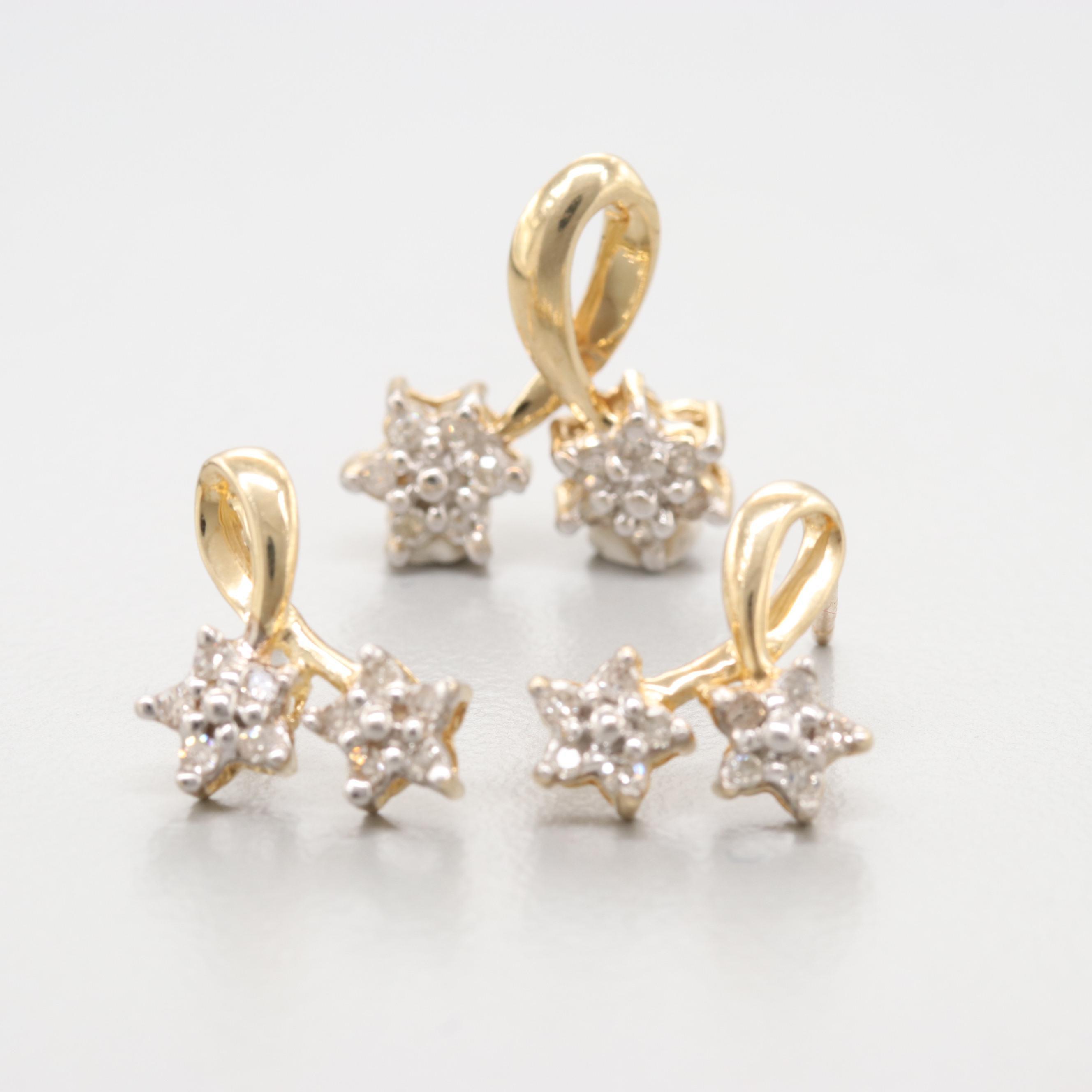 10K Yellow Gold Diamond Earrings and Pendant