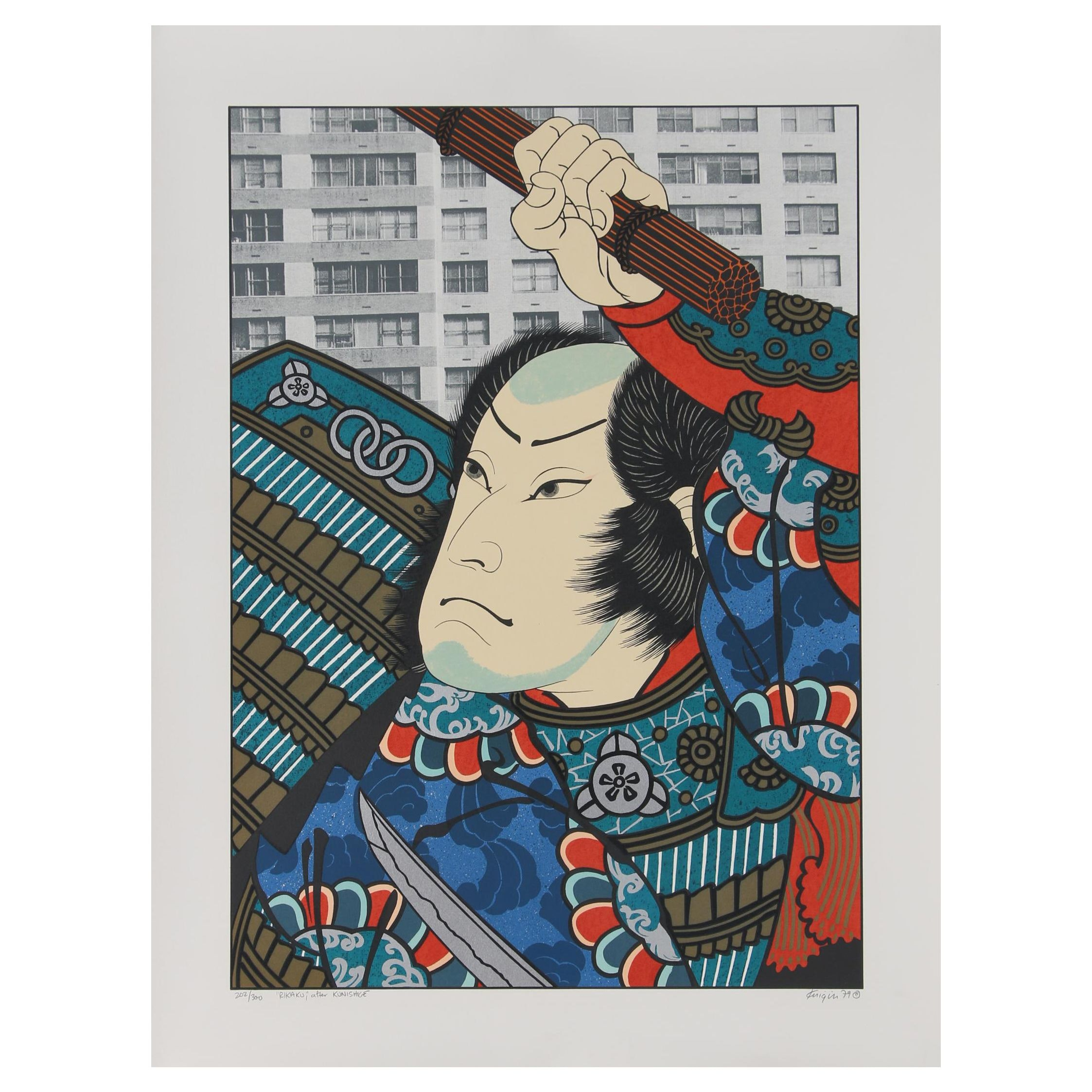 "Michael Knigin Lithograph ""Rikako"" After Kunishige"