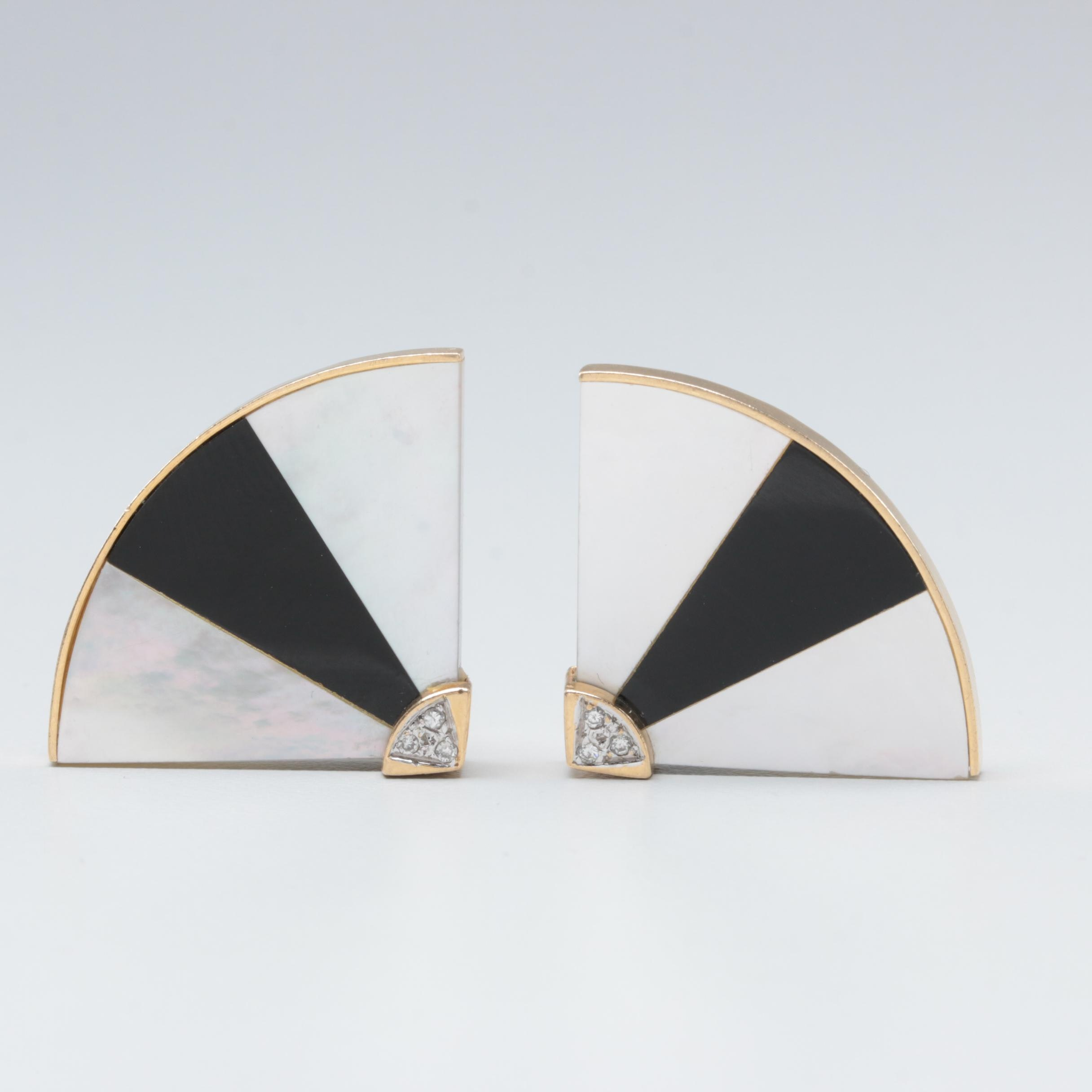 14K Yellow Gold Mother of Pearl, Black Onyx and Diamond Earrings
