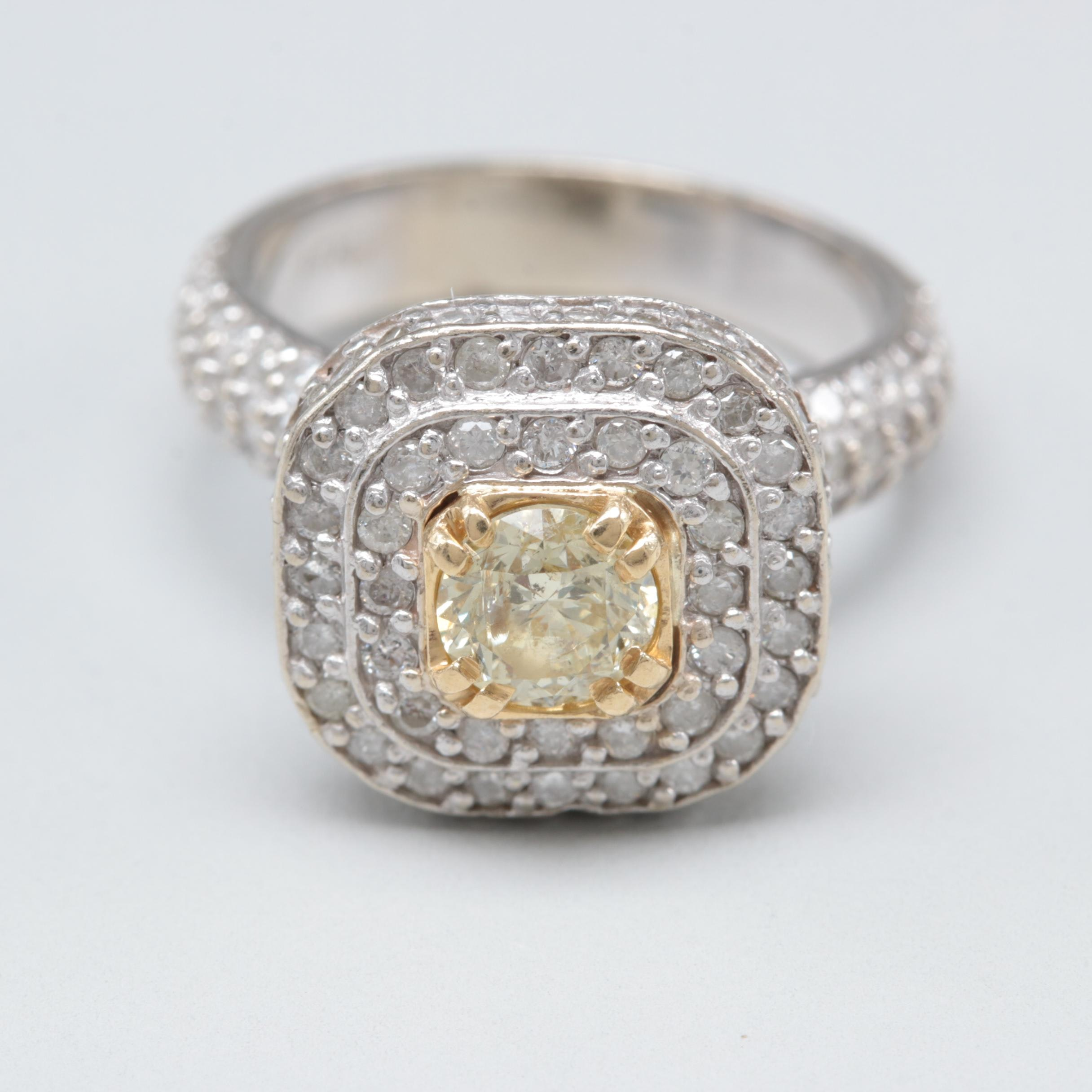 10K White Gold 1.53 CTW Diamond Ring with Yellow Gold Accents