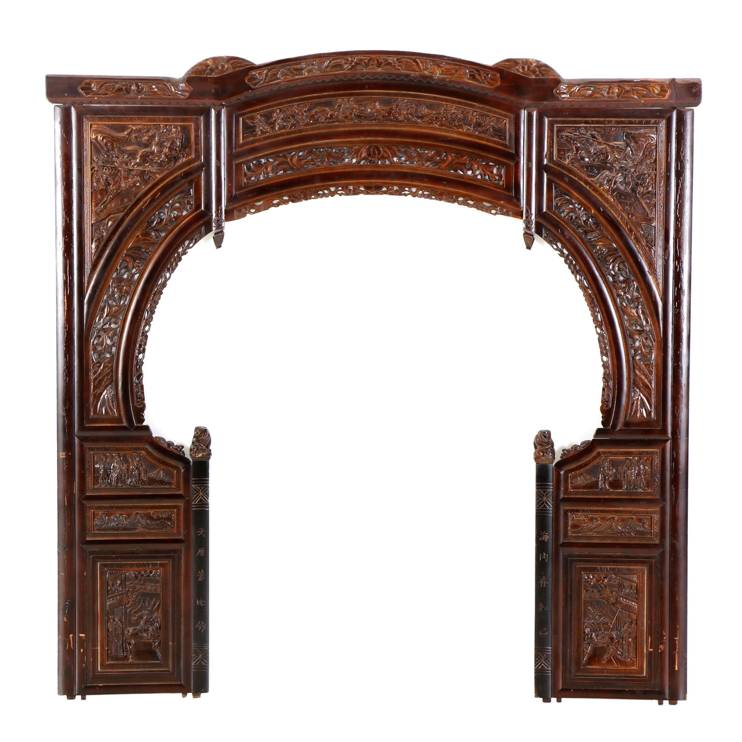 Chinese Carved Architectural Bed Surround