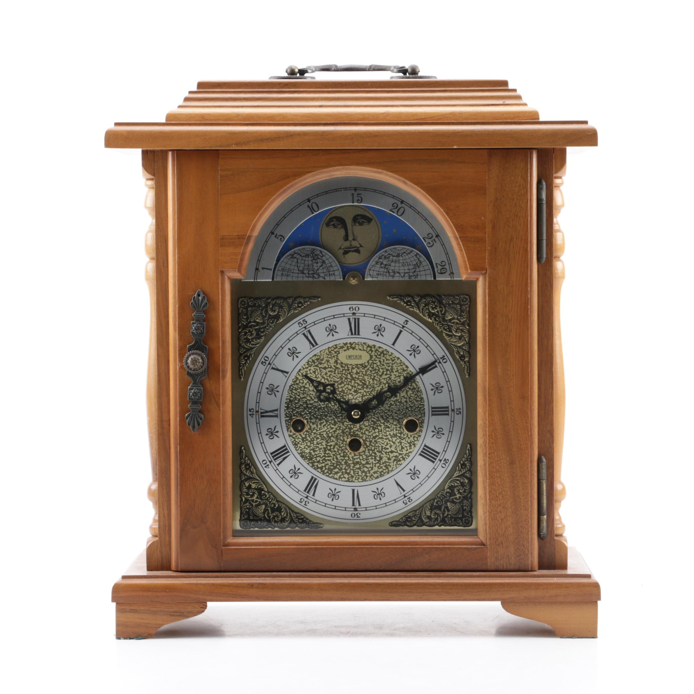 Emperor Carriage Mantel Clock with Franz Hermle Movement and Moon Phase Dial