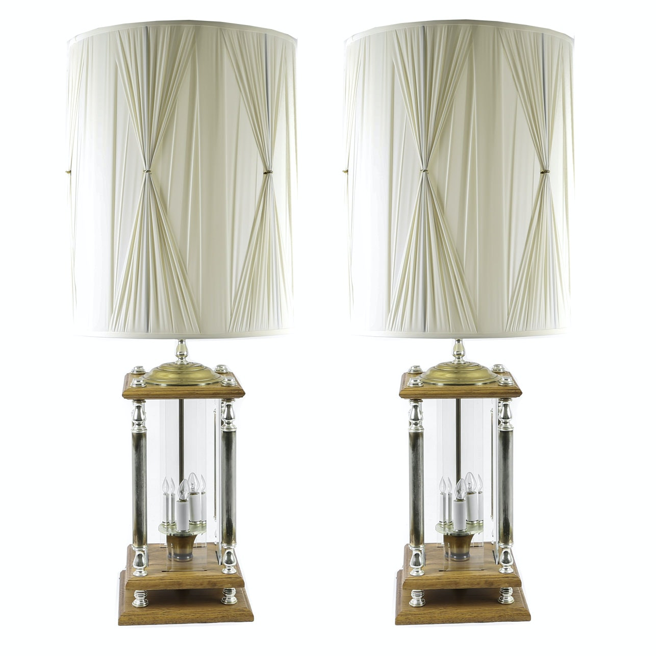 Mid Century Wood and Glass Panel Table Lamps with Decorative Shades