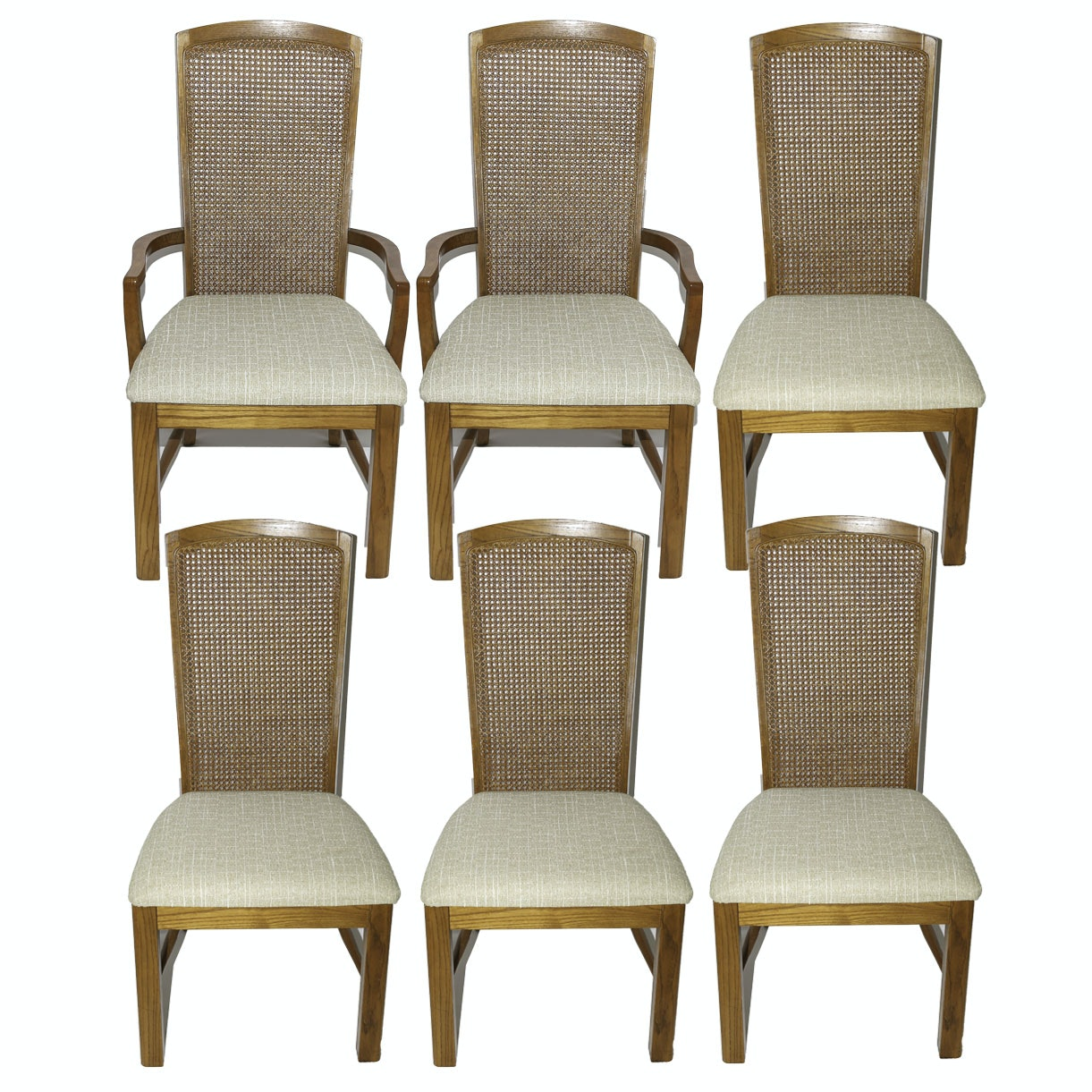 Contemporary Oak Dining Chairs with Cane Backs
