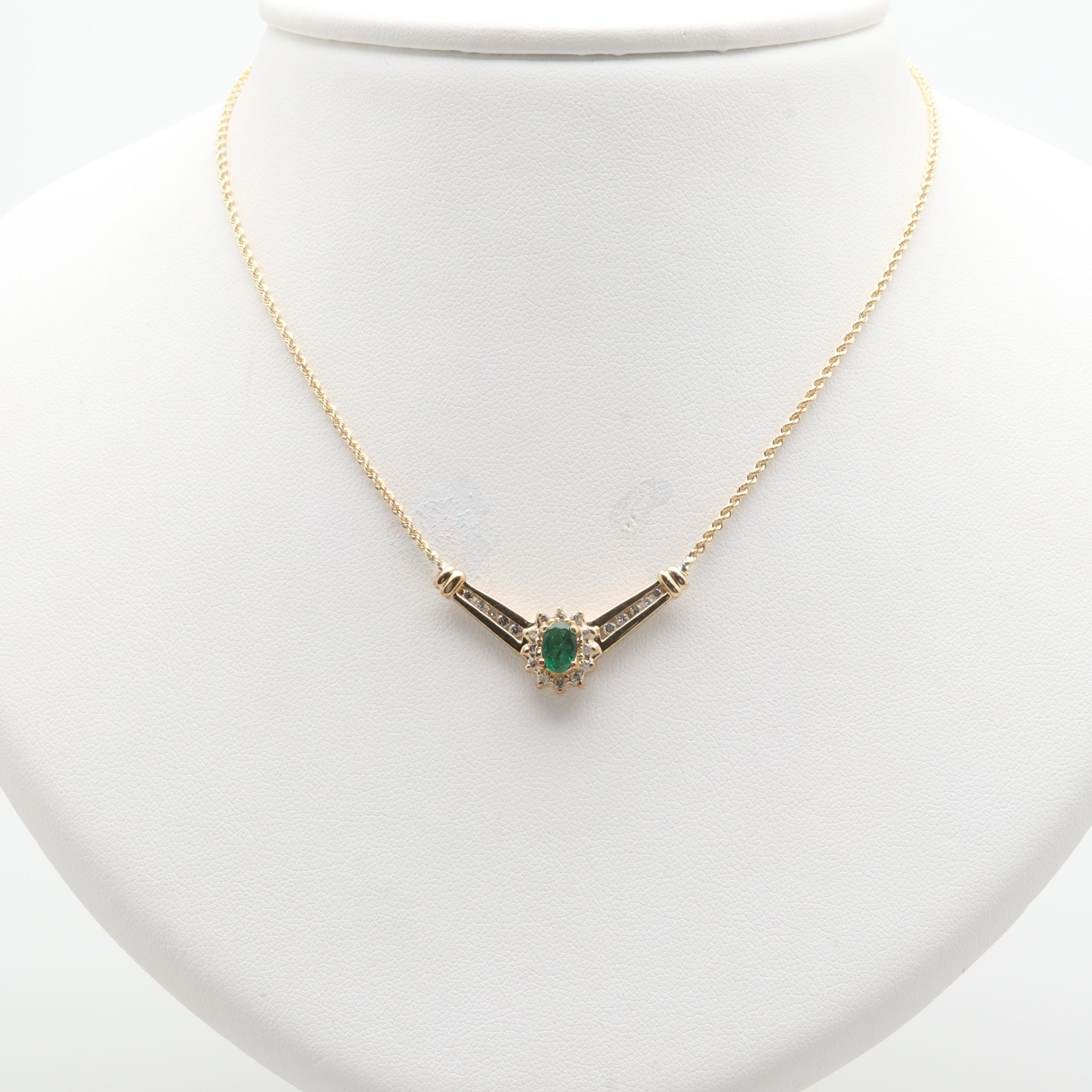 10K and 14K Yellow Gold Emerald and Diamond Necklace With Alwan Vahan Pendant