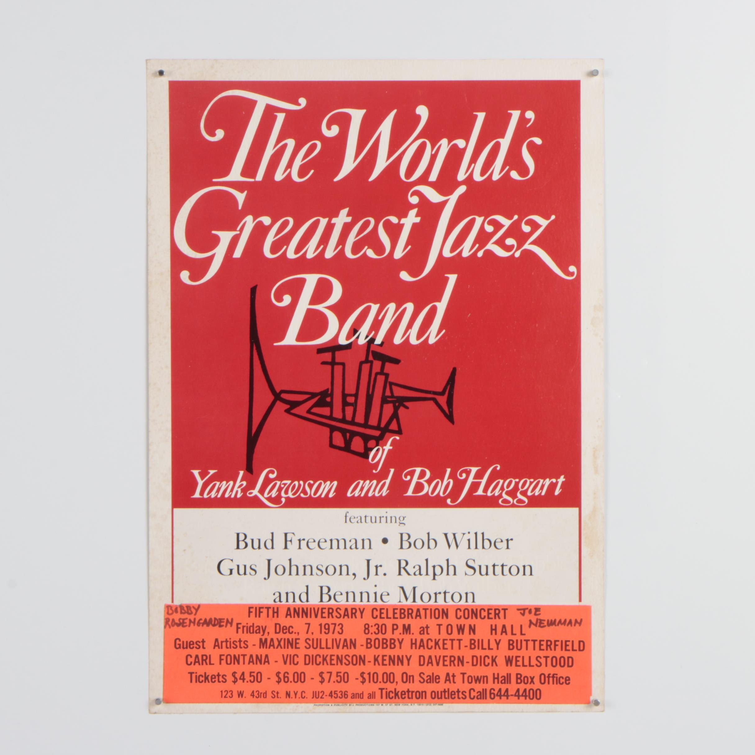 "1973 Concert Poster ""The World's Greatest Jazz Band"""