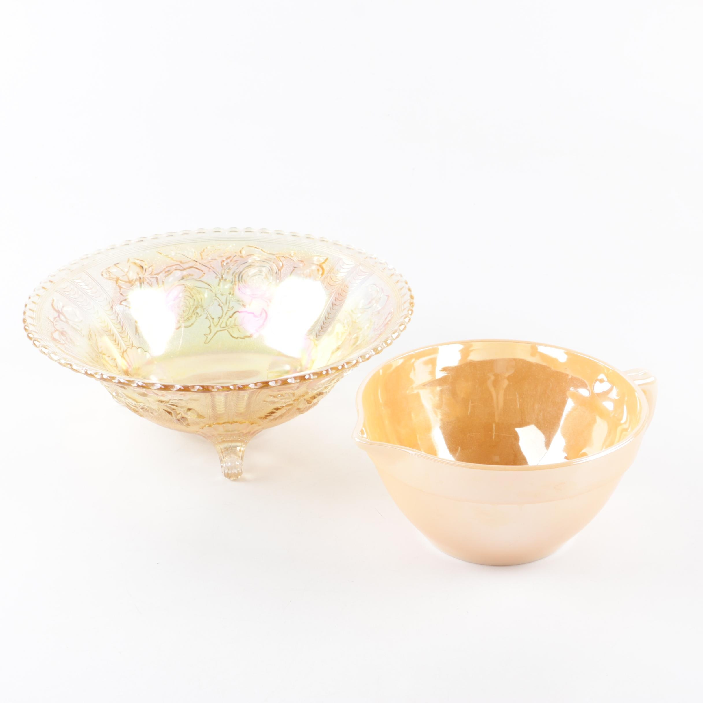 Fire-King Peach Luster Mixing Bowl with Footed Carnival Glass Bowl
