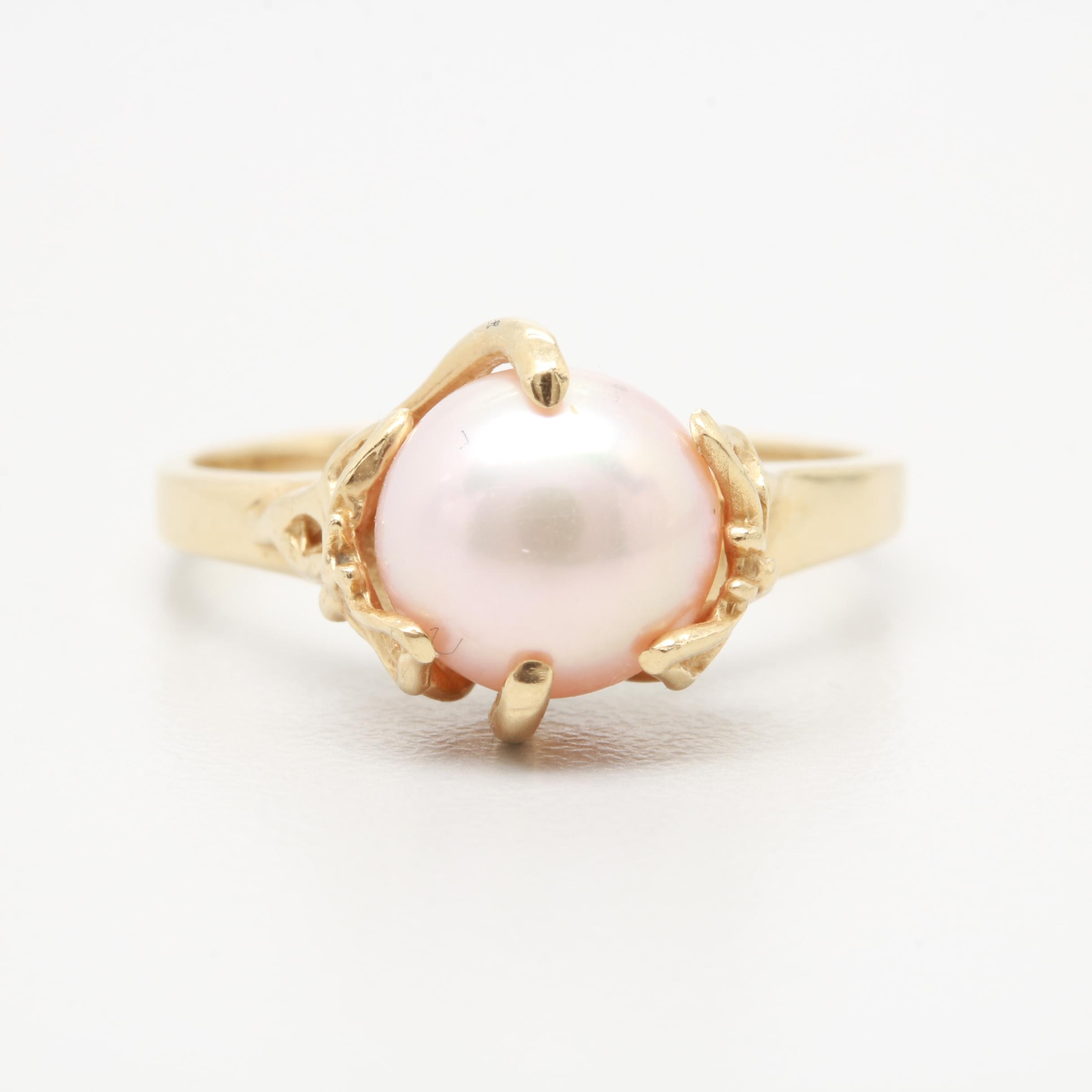 14K Yellow Gold Cultured Pearl Ring