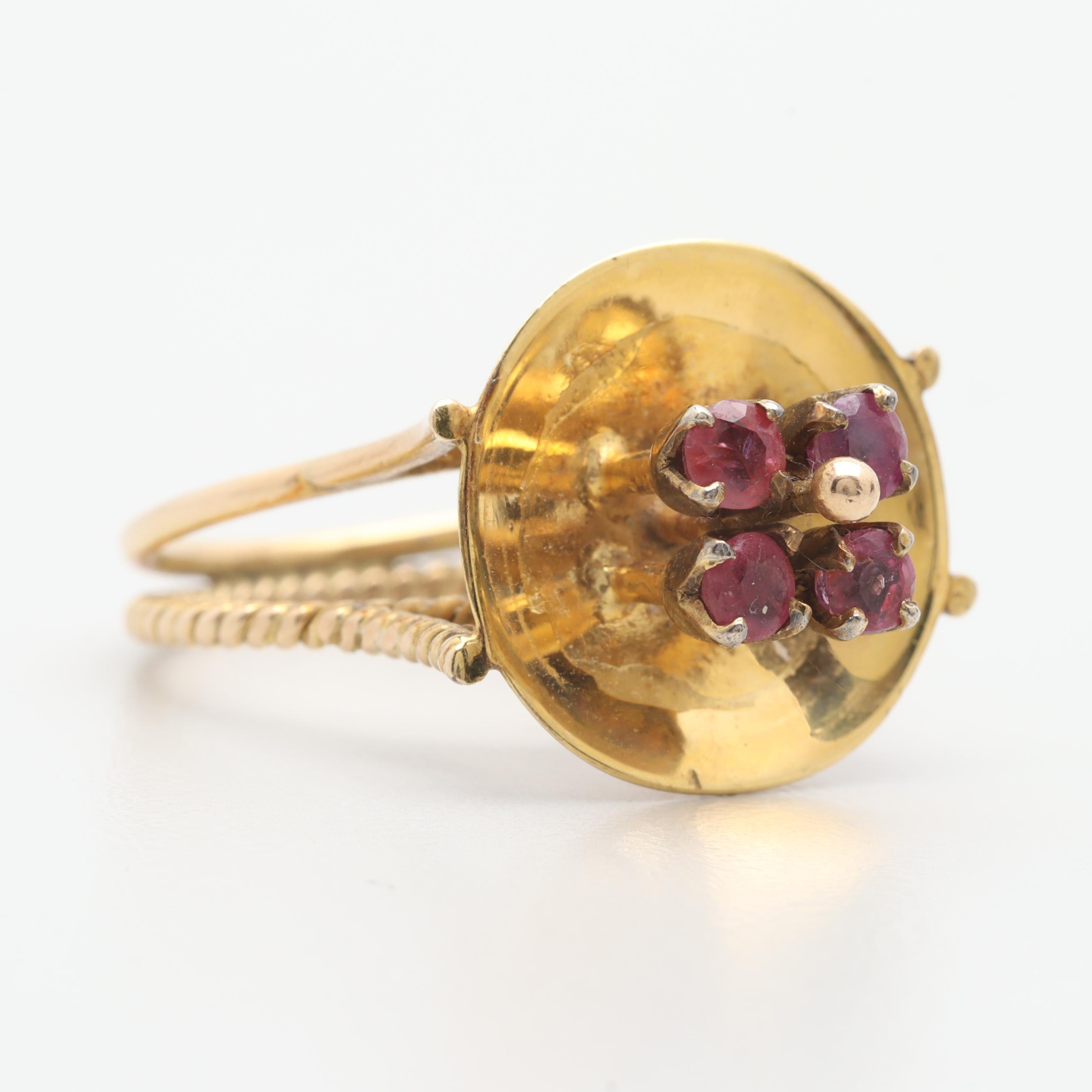 Vintage 14K Yellow Gold Ruby Ring