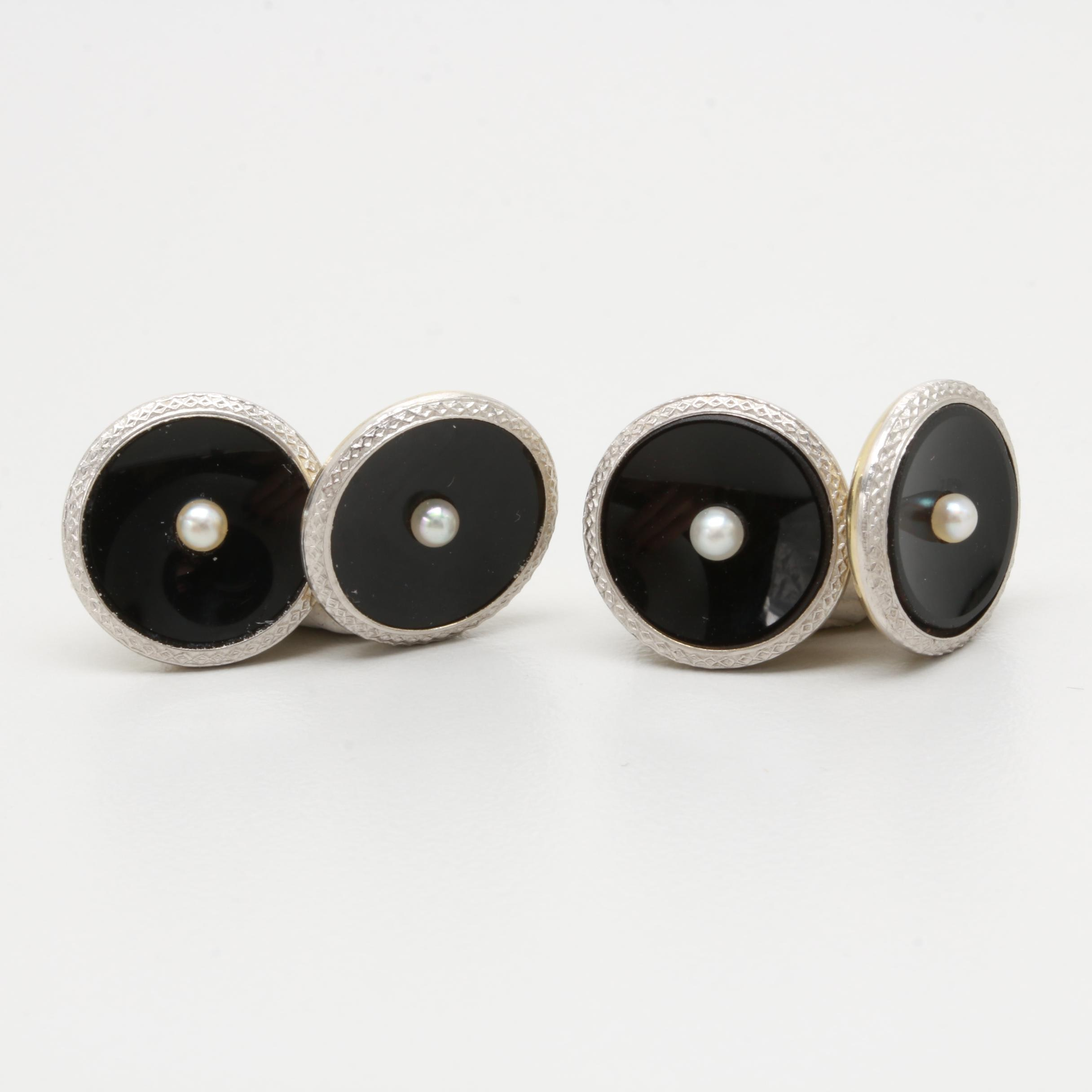 14K Yellow Gold and Platinum Onyx and Cultured Pearl Cufflinks