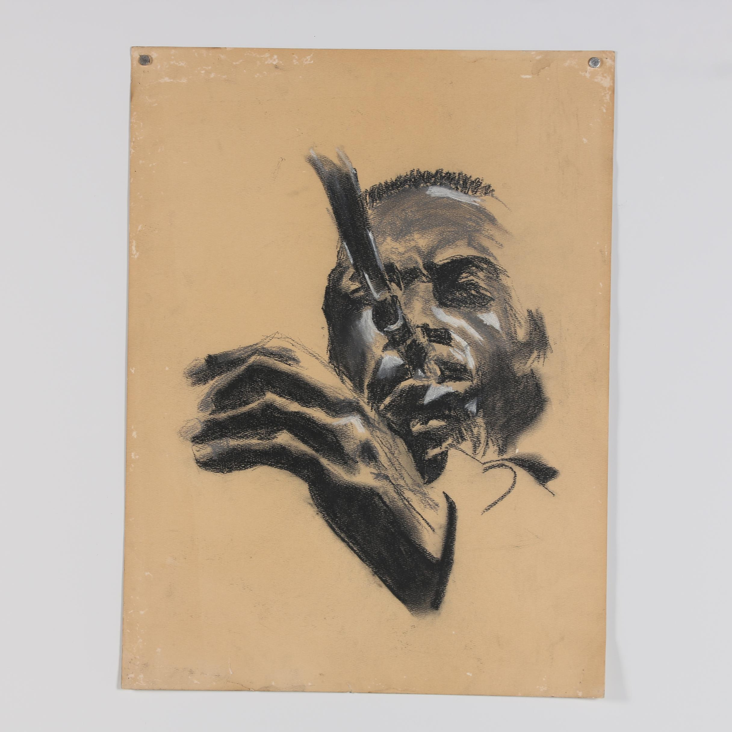 Mid 20th Century Charcoal Drawing of Jazz Musician