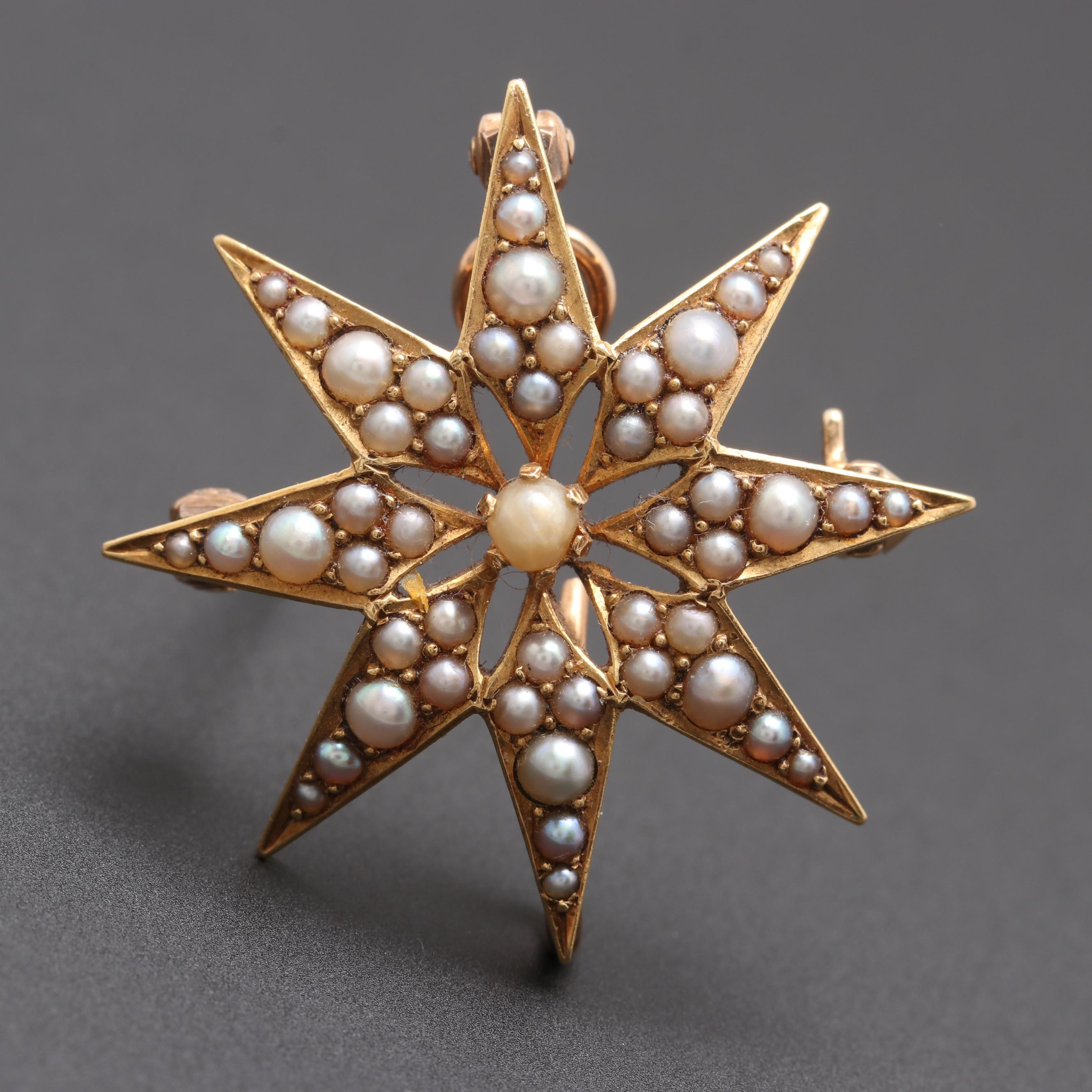 Art Nouveau 14K Yellow Gold Seed and Half Pearl Star Converter Brooch