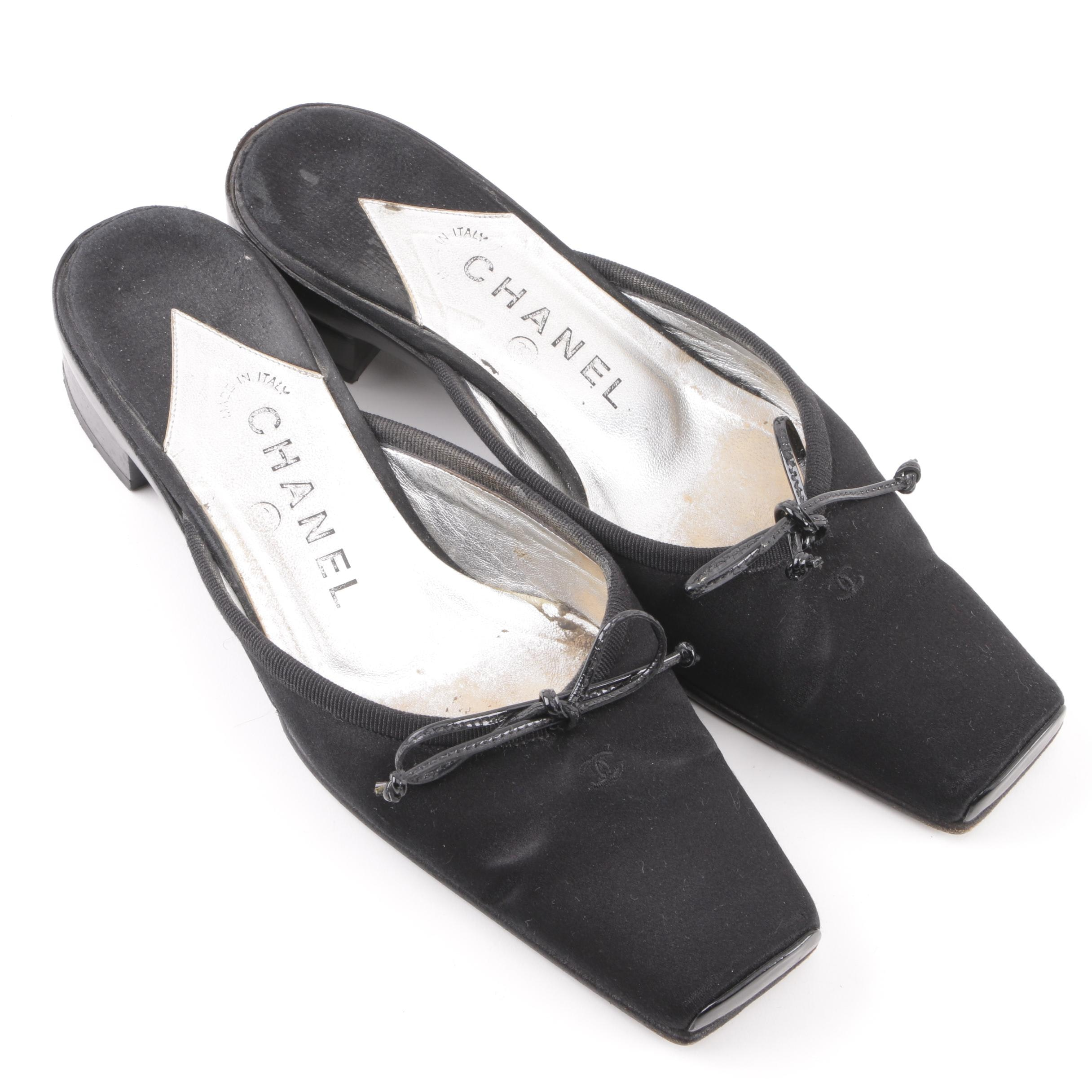 Chanel Black Satin Bow Tie Mules