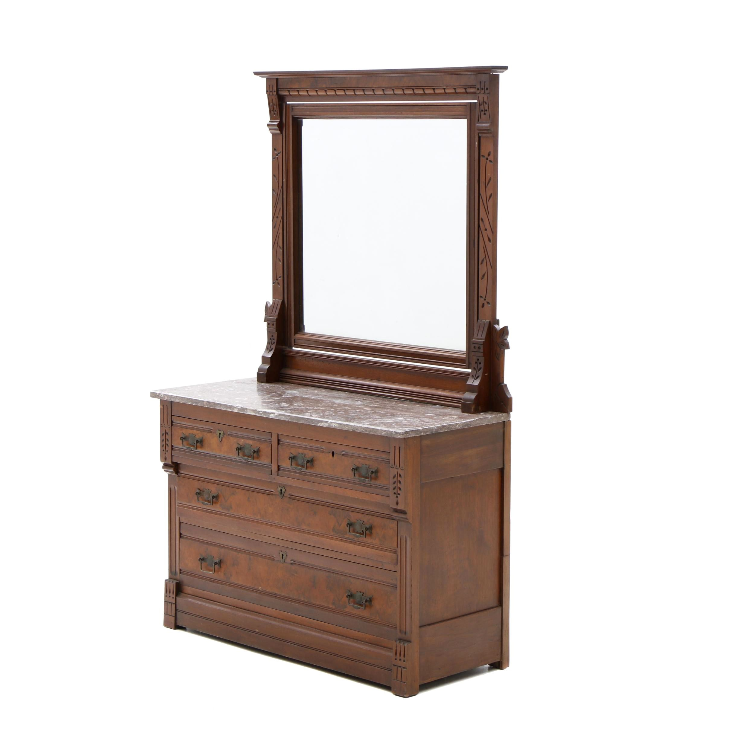 Antique Eastlake Chest of Drawers and Mirror